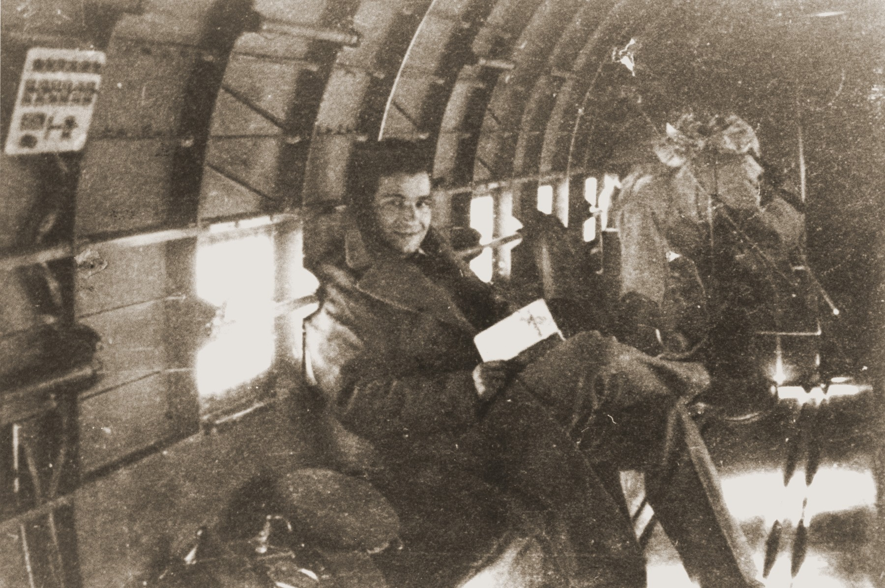 Palestinian Jewish parachutist Uriel Kanner on board an airplane before being dropped into Yugoslavia.