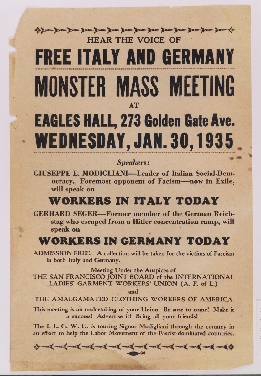 Poster advertising a mass meeting in San Francisco, at which exiled opponents of Italian fascism and German Nazism will speak to American workers.  The featured speakers are Giuseppe E. Modigliani and Gerhard Seger.