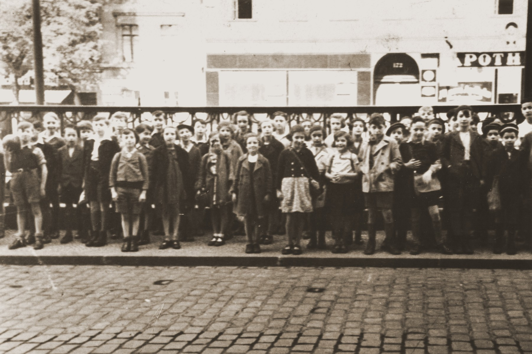 Pupils from the Rykestrasse Jewish school pose on a street in Berlin.