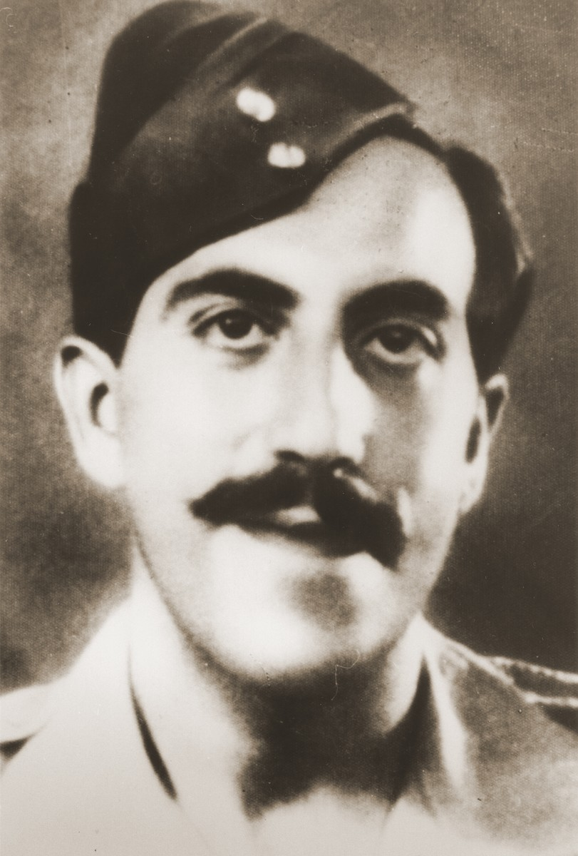 Portrait of Palestinian Jewish parachutist Rafi Reiss.   Reiss made two drops behind enemy lines.  The first was into Yugoslavia; the second was into Slovakia, where he was captured and killed.