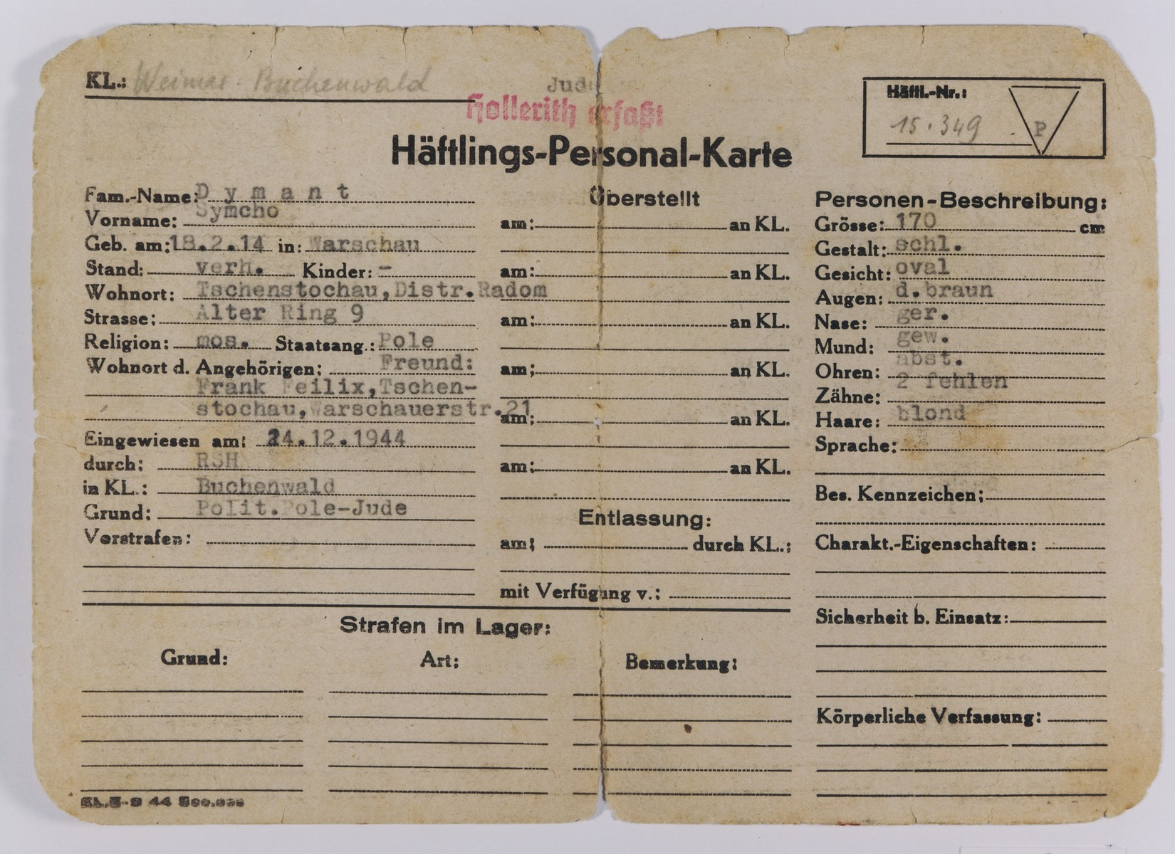 Buchenwald Concentration Camp Prisoner Data Card for Symcho Dymant.