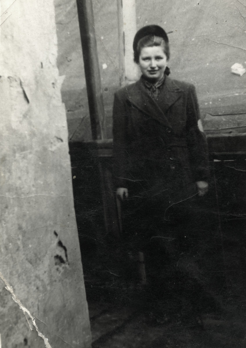 Portrait of Mali Lamm wearing an armband in the Chrzanow ghetto.