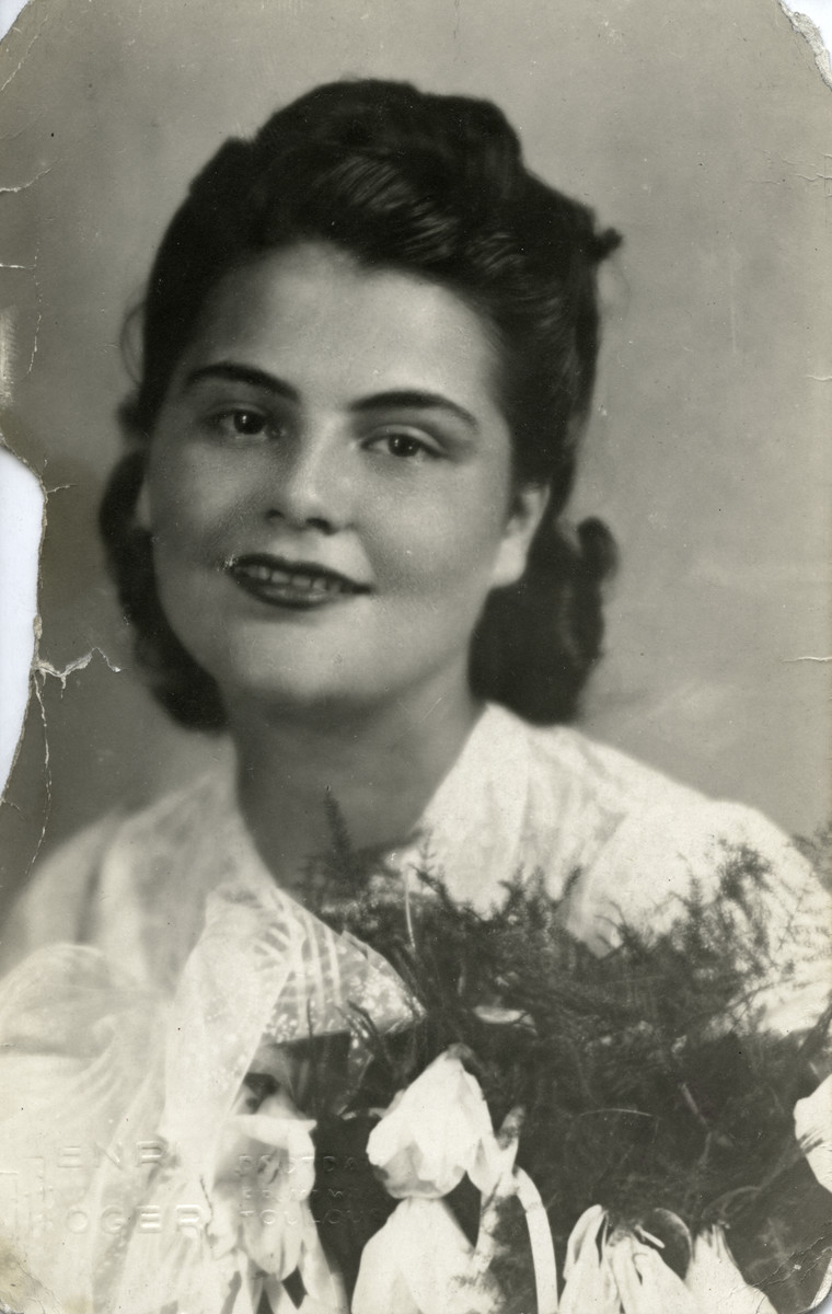 Close-up portrait of Fanny Reicher (mother of the donor) on her wedding day, June 25, 1942.