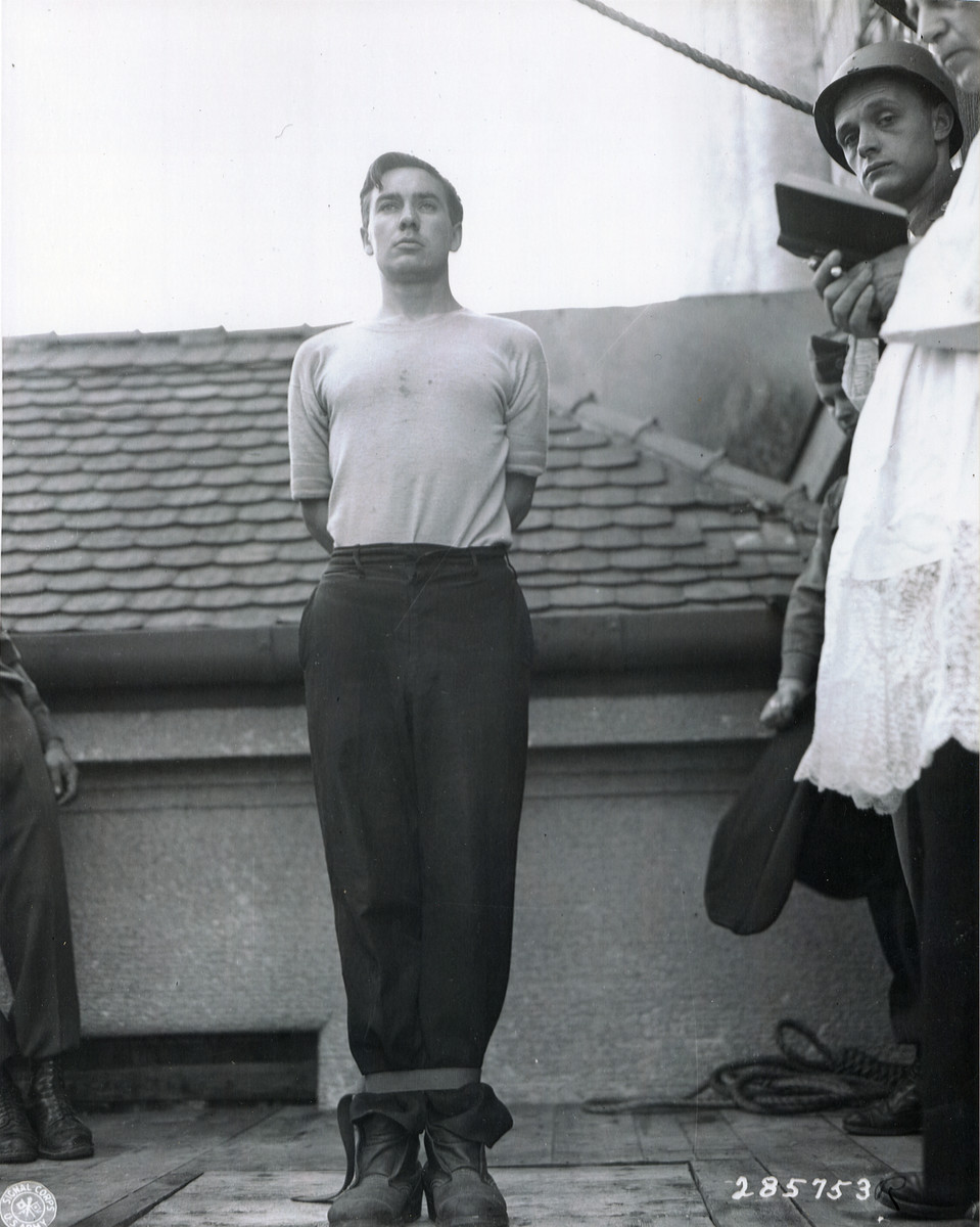 Execution of Former SS-Unterscharfuehrer Josef Riegler (b. 7/5/22), a defendant at the Mauthausen war crimes trial, at the Landsberg prison.