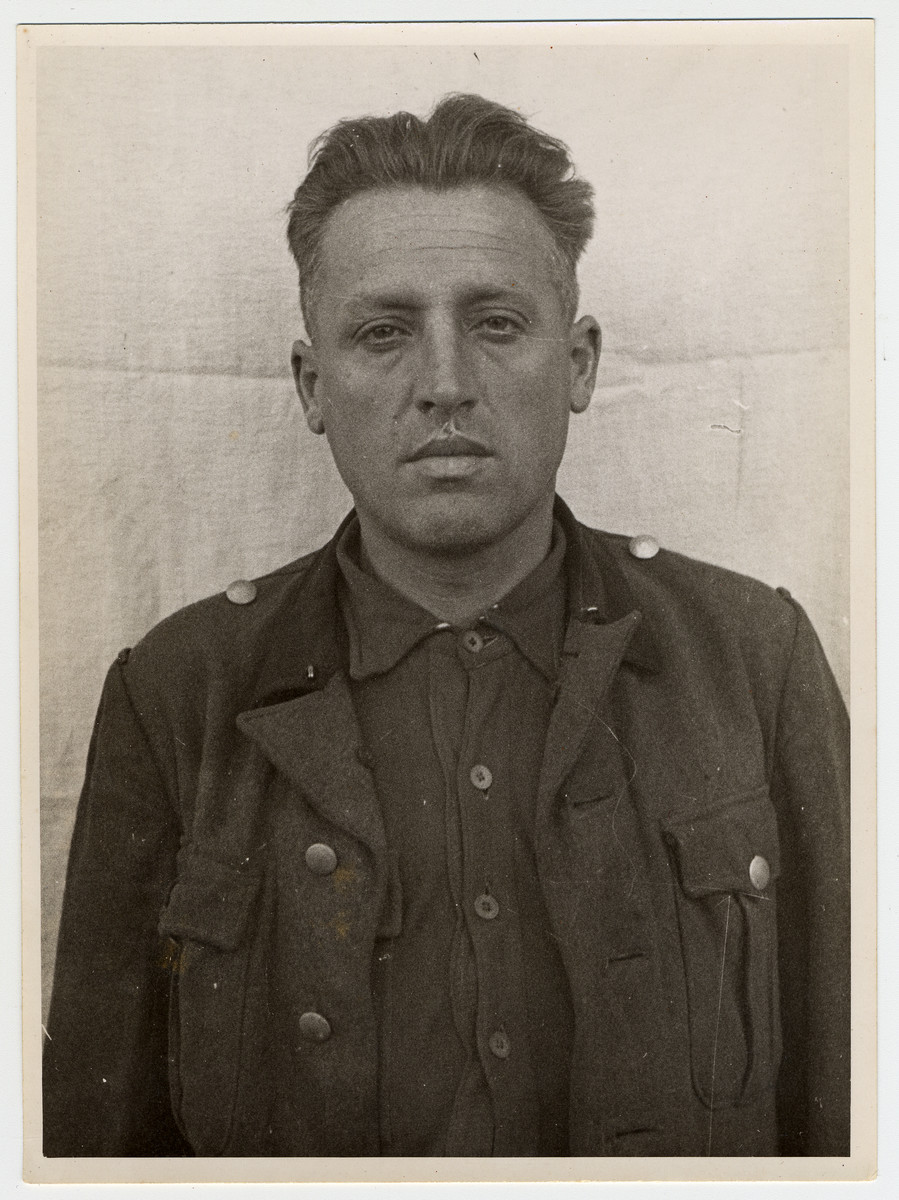 Mug shot of S.S. guard Wilhelm Wagner stationed at Dachau, who was arrested when the camp was liberated by American forces on April 29, 1945.