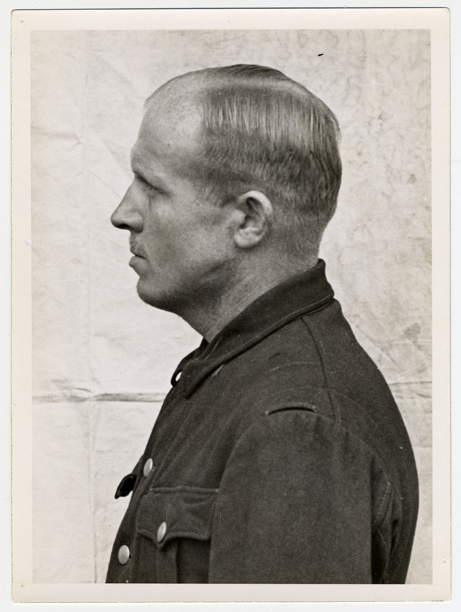 Mug shot of S.S. guard Otto Moll stationed at Dachau, who was arrested when the camp was liberated by American forces on April 29, 1945.  Otto Moll was also in charge of the crematoria at Auschwitz.