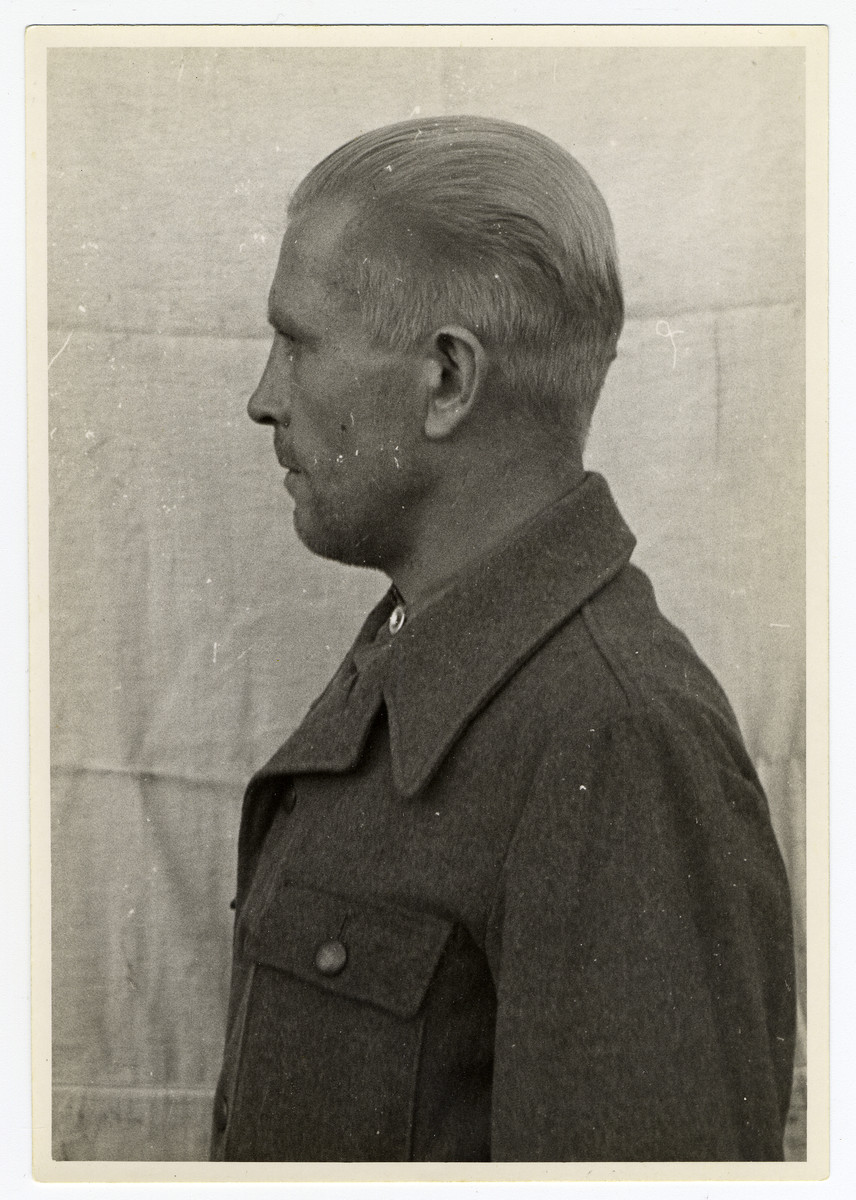 Mug shot of S.S. guard Otto Schulz stationed at Dachau, who was arrested when the camp was liberated by American forces on April 29, 1945.