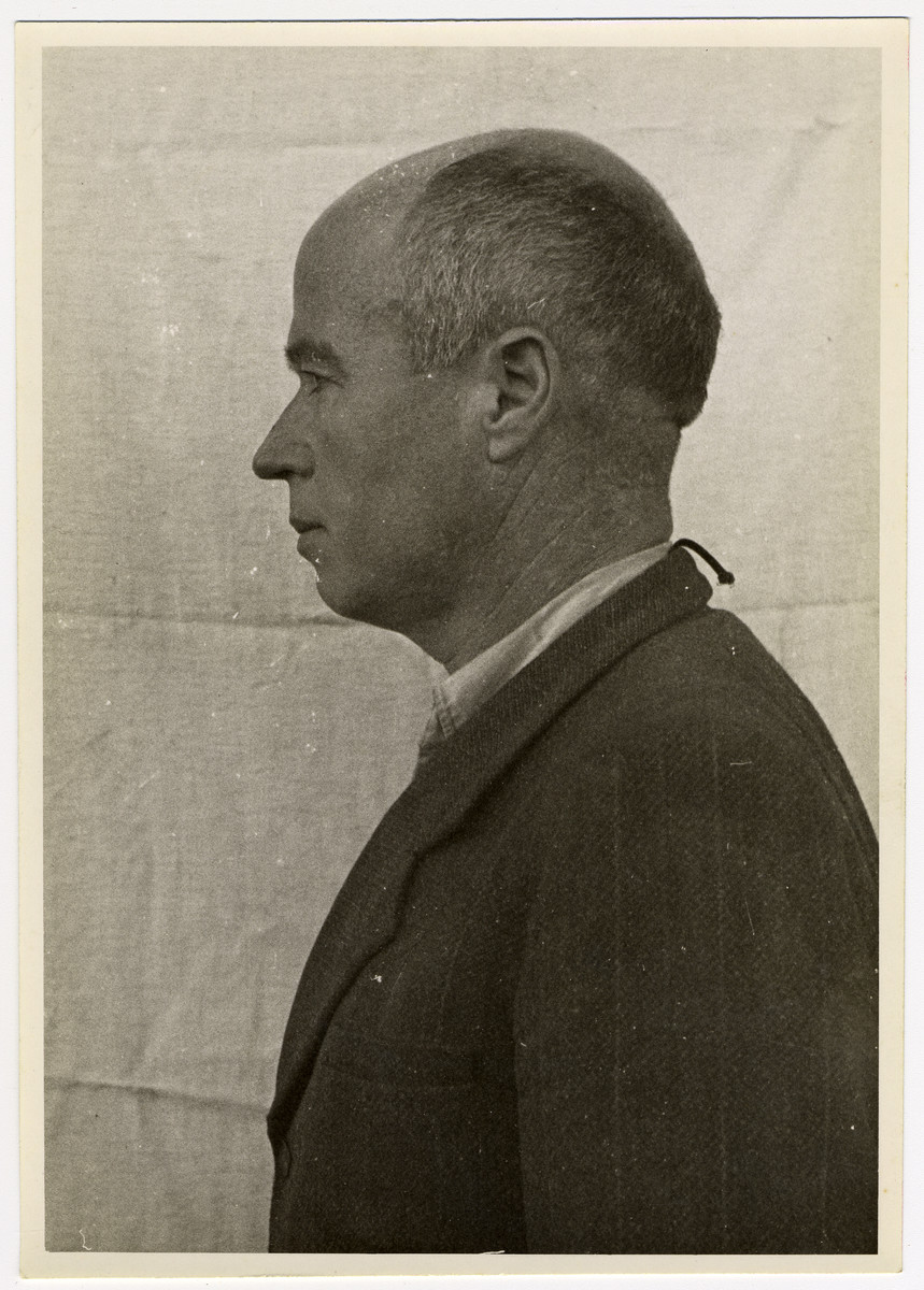 Mug shot of S.S. guard Fritz Becher stationed at Dachau, who was arrested when the camp was liberated by American forces on April 29, 1945.