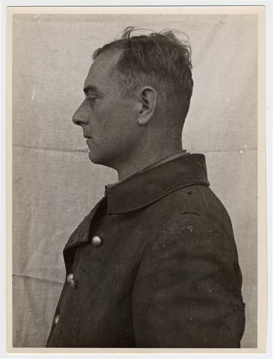 Mug shot of Hans Kurt Eisele, a physician stationed at Dachau, who was arrested when the camp was liberated by American forces on April 29, 1945.