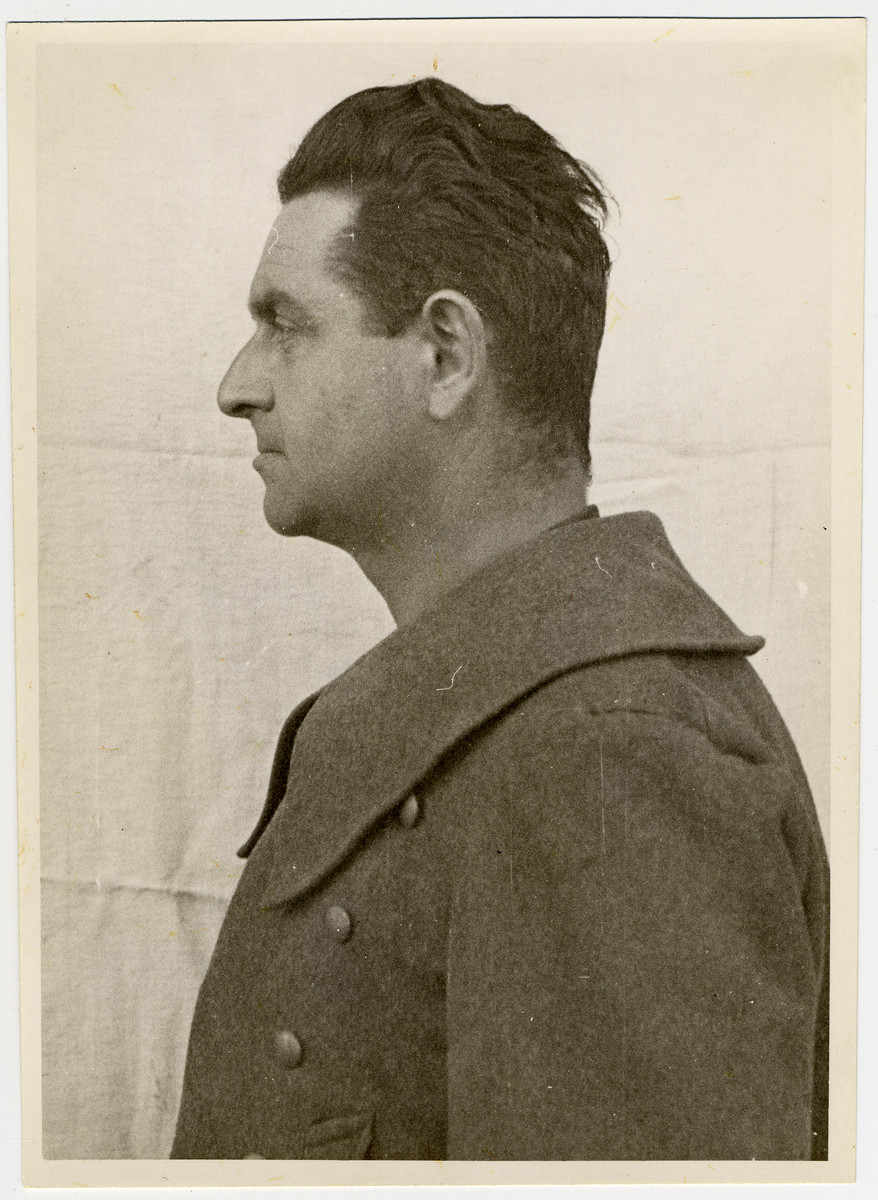 Mug shot of Dachau Camp Commandant from 1942-1943, Martin Gottfried Weiss, who was arrested when the camp was liberated by American forces on April 29, 1945.
