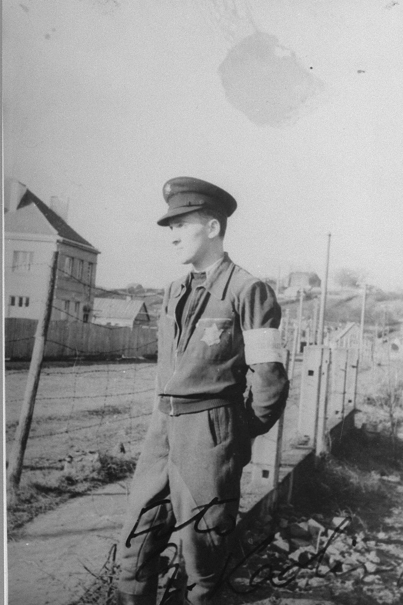 Close-up portrait of the Jewish policeman, Shraga Wainer.  Zvi Kadushin took this photograph from the window of Mr. Wainer's house in order not to be seen.