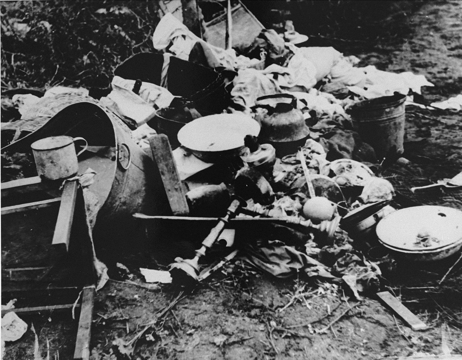 Property from synagogues and homes vandalized by the Lithuanians during the June, 1941 pogrom in Kovno.