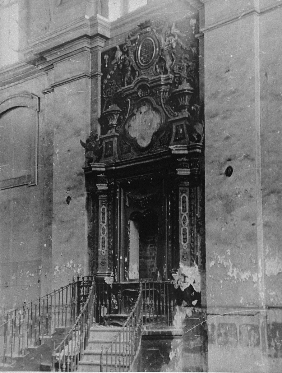 Desecrated Holy Ark of the Great Synagogue in Vilna.