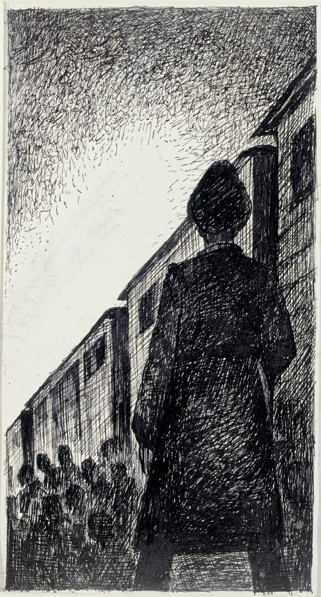 Holocaust art by Ervin Abadi. Ink drawing.  Ervin Abadi, a Hungarian Jew from Budapest, was an aspiring young artist when WWII began.  He was drafted into the Hungarian labor service in the early 1940s.  Abadi managed to escape, but  was recaptured and immediately deported to Bergen-Belsen.  When the camp was liberated, his condition was such that he required extended hospitalization.  During his convalescence, he created dozens of works of holocaust art, including ink drawings, pencil and ink sketches and  watercolors. After recuperating Abadi returned to Budapest, where he published a collection of his watercolors in 1946.  After becoming disillusioned with the communist regime in Hungary, he moved to Israel, where he continued to publish in Hungarian and Hebrew.  He died in Israel in 1980.