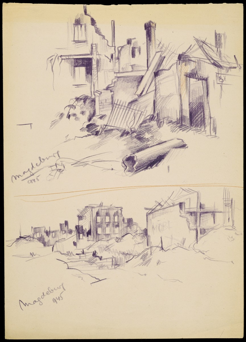 Holocaust art by Ervin Abadi. Pencil sketch.  Ervin Abadi, a Hungarian Jew from Budapest, was an aspiring young artist when WWII began.  He was drafted into the Hungarian labor service in the early 1940s.  Abadi managed to escape, but  was recaptured and immediately deported to Bergen-Belsen.  When the camp was liberated, his condition was such that he required extended hospitalization.  During his convalescence, he created dozens of works of holocaust art, including ink drawings, pencil and ink sketches and  watercolors. After recuperating Abadi returned to Budapest, where he published a collection of his watercolors in 1946.  After becoming disillusioned with the communist regime in Hungary, he moved to Israel, where he continued to publish in Hungarian and Hebrew.  He died in Israel in 1980.