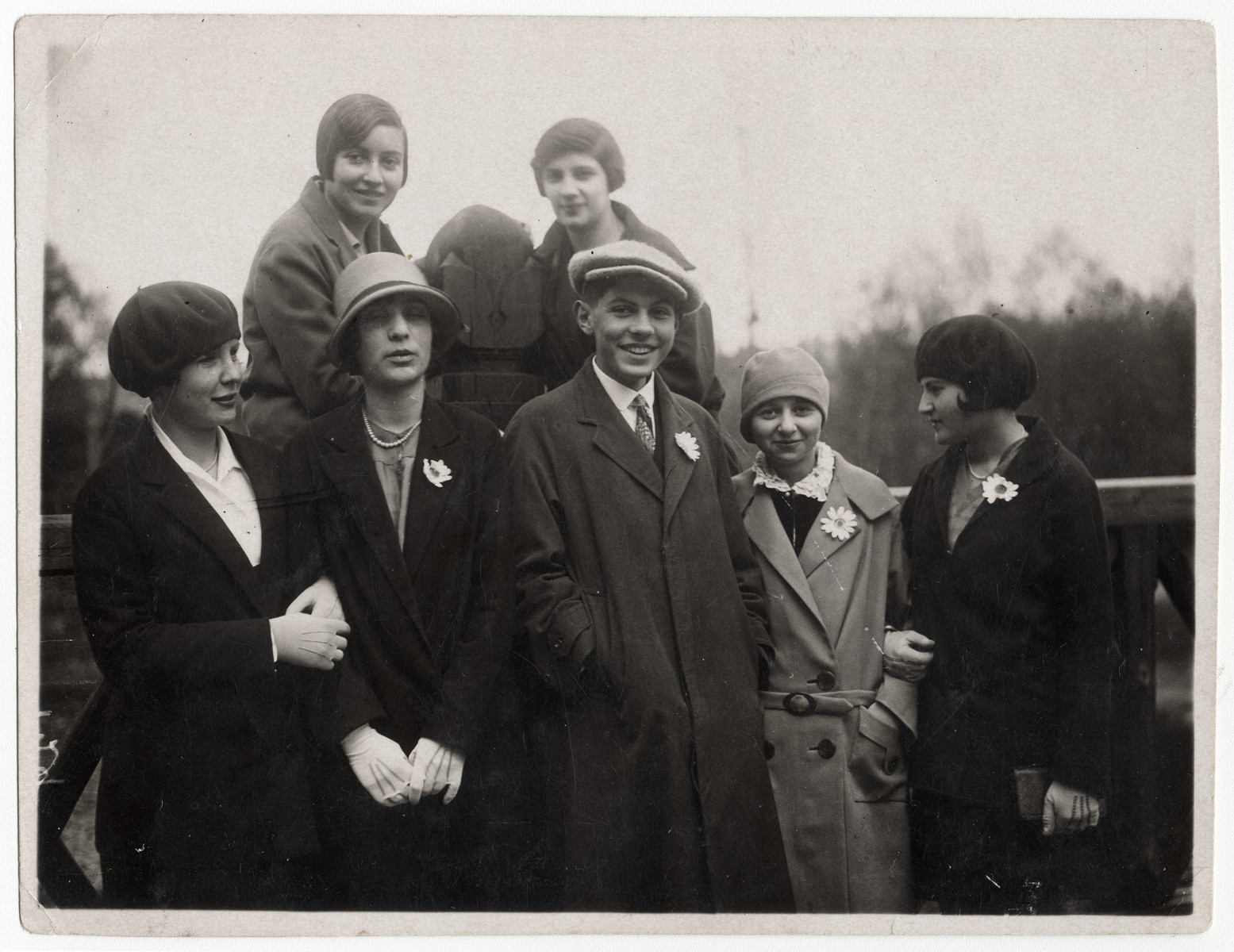 Group portrait of Jewish and non-Jewish young adults in Riga, Latvia.  Among those pictured are Sofia Javorkovsky (mother of the donor), first row, second from right and her best friend, Elena Berzin (later Francman) in front left.  Elena Francman helped the Javorkovsky family by bringing food into the ghetto and keeping their valuables safe and returning them after the war.