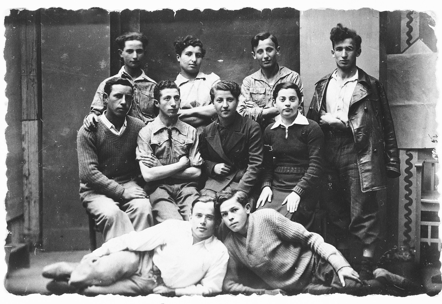 Group portrait of ten young people, members of either Hehalutz or Hashomer Hatsair.  Among those pictured are Leah Rutstein and Neshka Rosenberg.