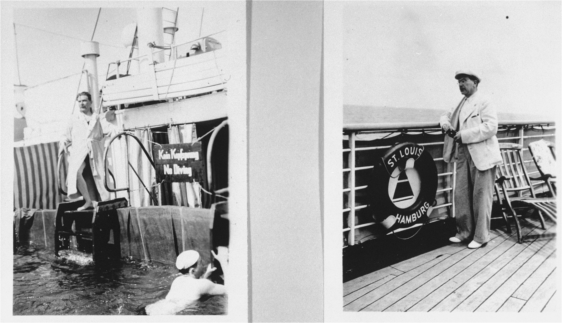 Passengers on the refugee ship MS St. Louis.    Left: passengers swim in the pool.  Right: a passenger stands on the deck.   From a photo album belonging to St. Louis passenger Moritz Schoenberger.