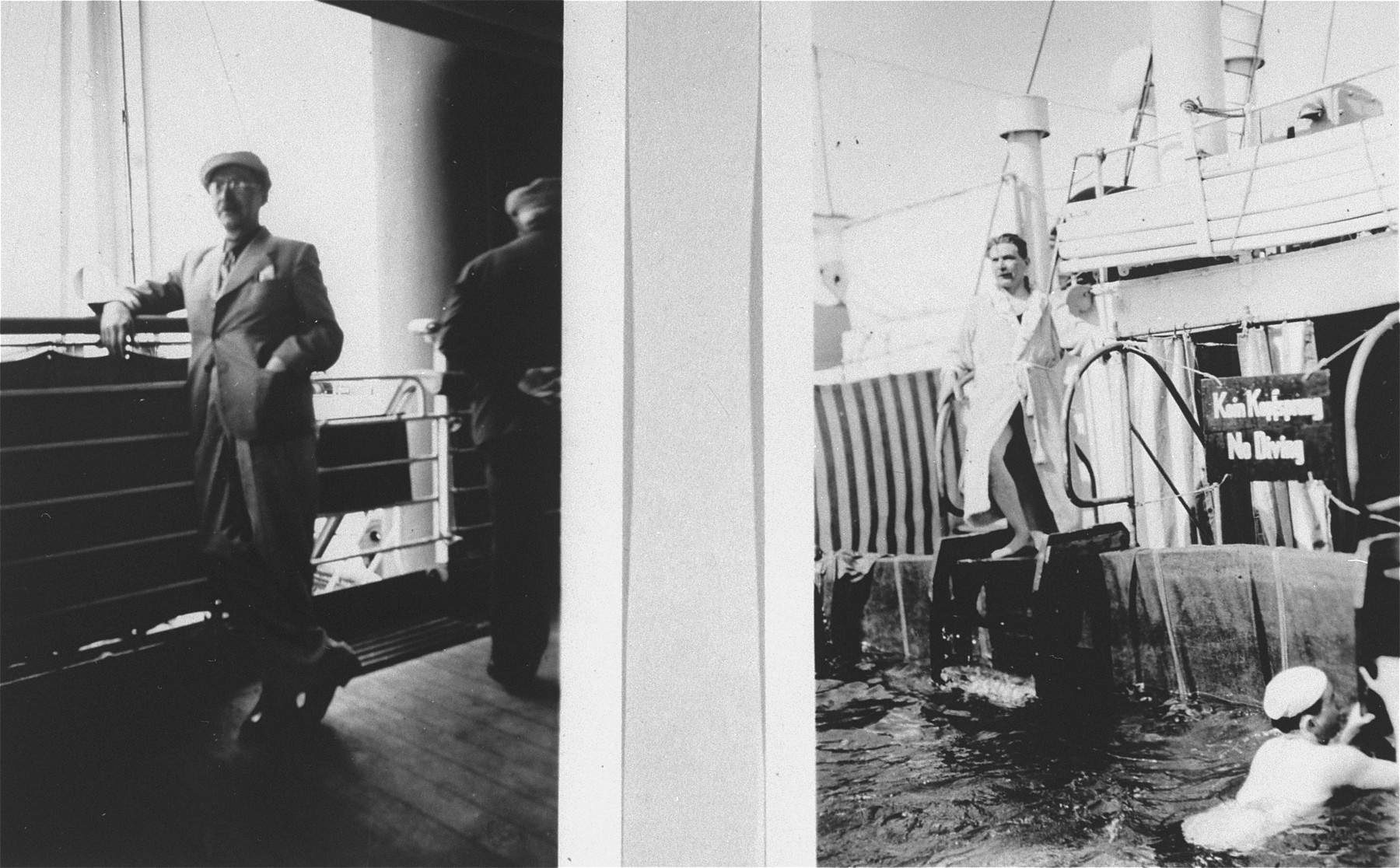 Passengers on the refugee ship MS St. Louis.    Left: a passenger stands on the deck.  Right: passengers swim in the pool.  From a photo album belonging to St. Louis passenger Moritz Schoenberger.