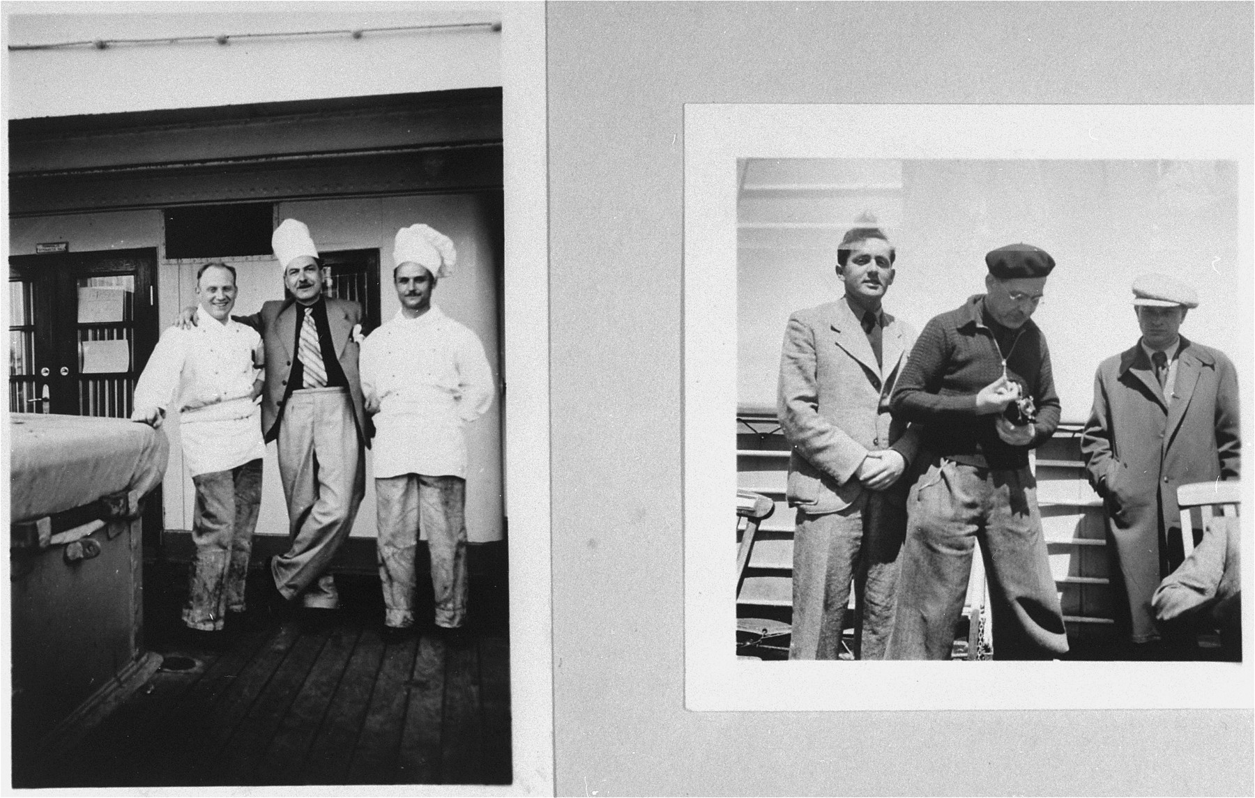 On the deck of the refugee ship MS St. Louis.    Left: the ship's chefs pose on the deck.  Right: passengers stand on the deck.   From a photo album belonging to St. Louis passenger Moritz Schoenberger.