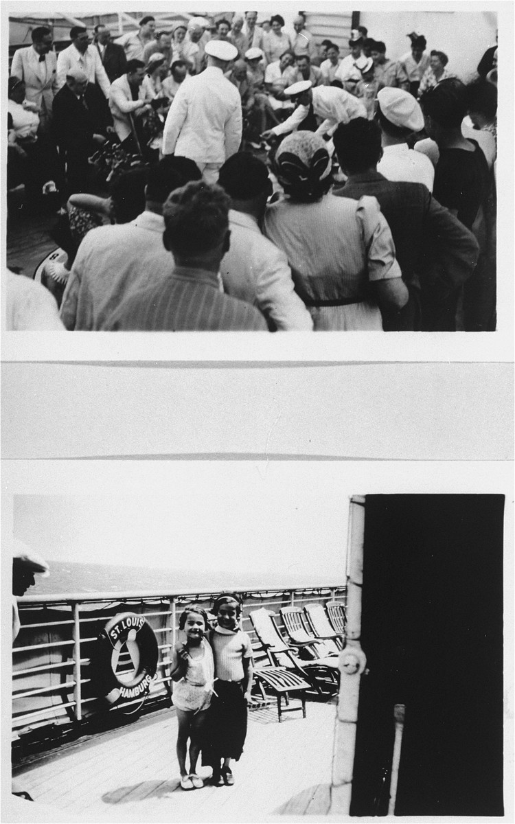 Passengers on the refugee ship MS St. Louis.    Top: passengers gather on the deck.  Bottom: two children stand on the deck.   From a photo album belonging to St. Louis passenger Moritz Schoenberger.