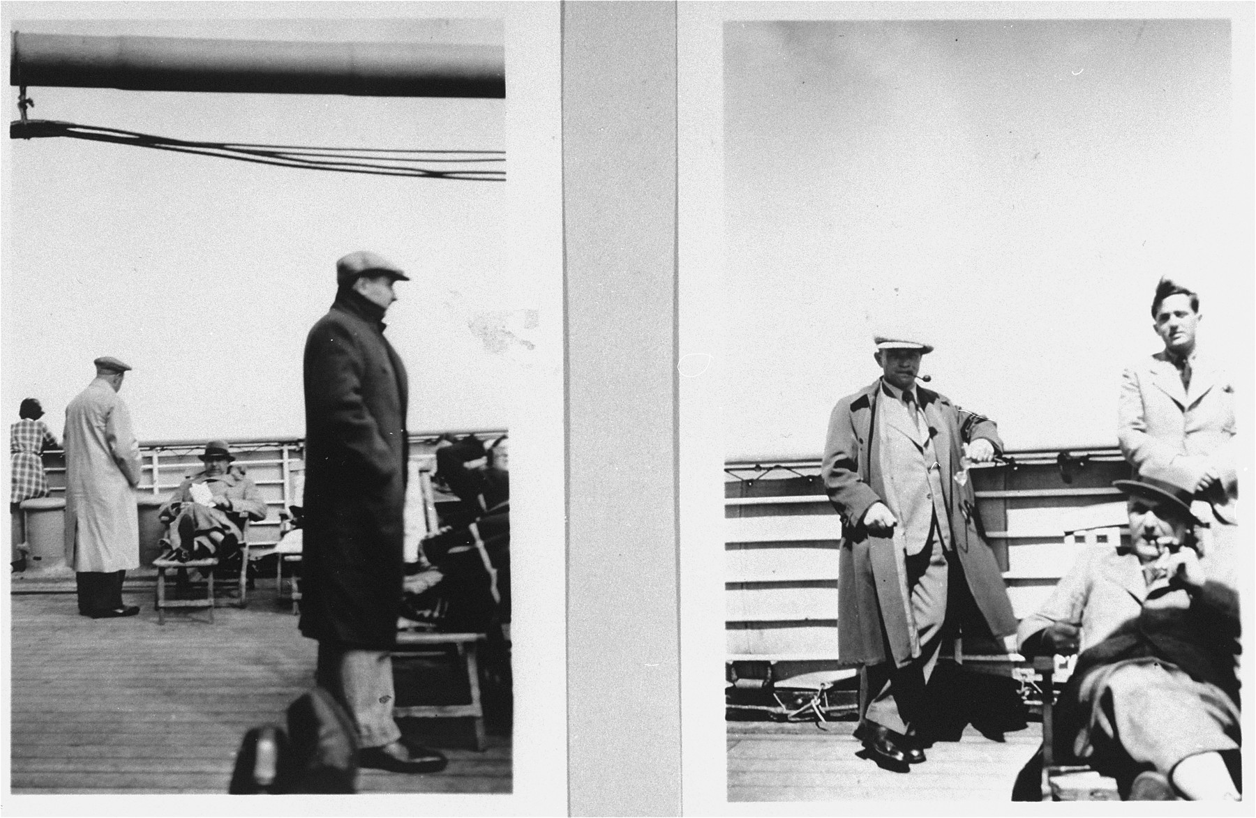 Passengers on the deck of the refugee ship MS St. Louis.     From a photo album belonging to St. Louis passenger Moritz Schoenberger.