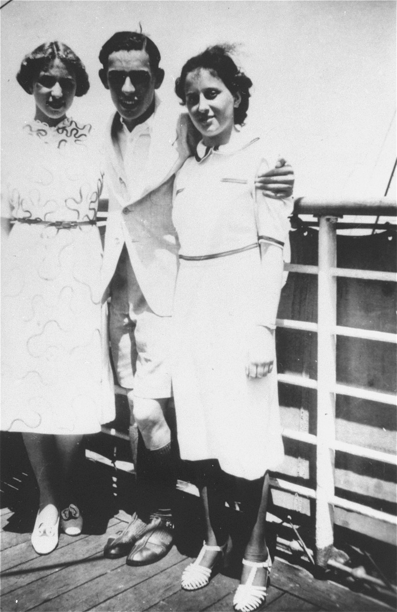 Passengers on the deck of the MS St. Louis.    Pictured from left to right are Edith Simon, Fritz Buff and Vera Hess.