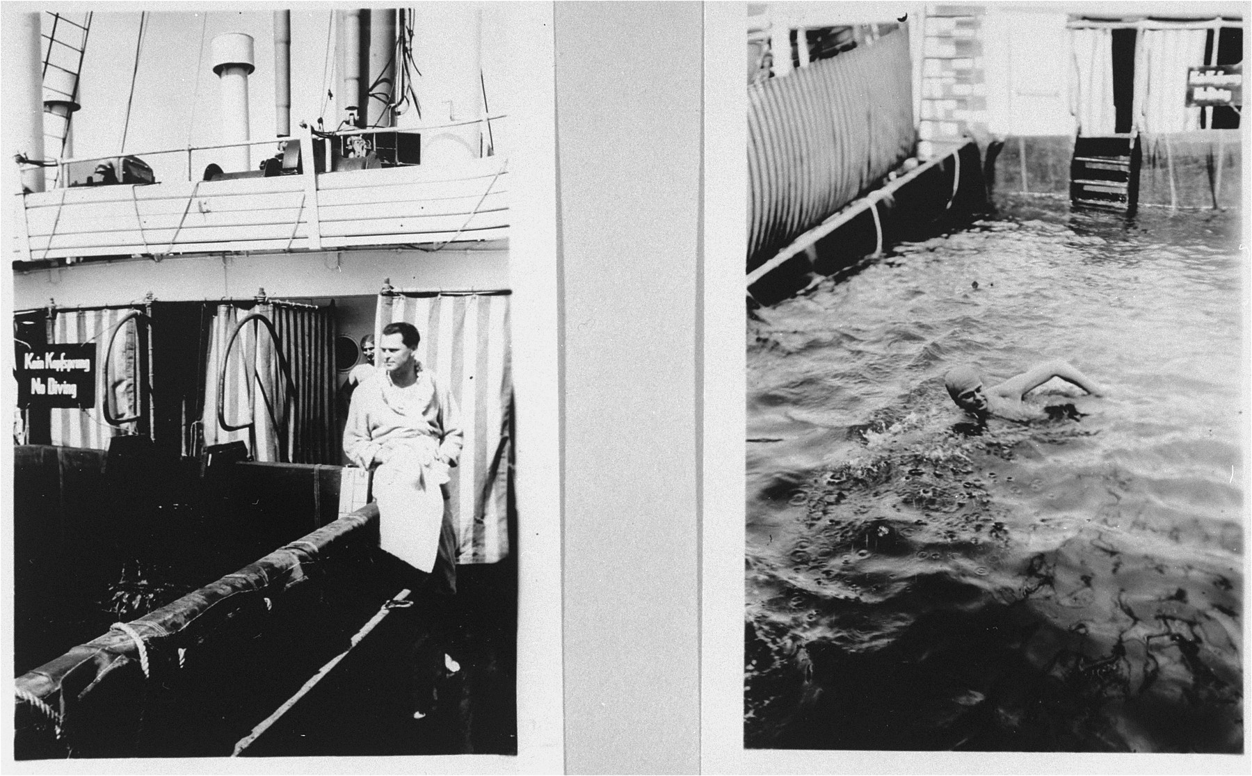 Passengers on the refugee ship MS St. Louis.     From a photo album belonging to St. Louis passenger Moritz Schoenberger.