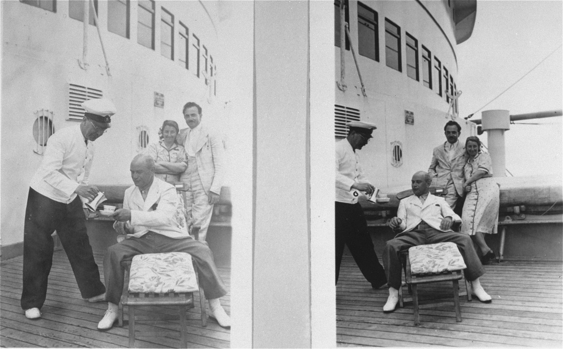 Passengers having coffee on the deck of the MS St. Louis.     From a photo album belonging to St. Louis passenger Moritz Schoenberger.