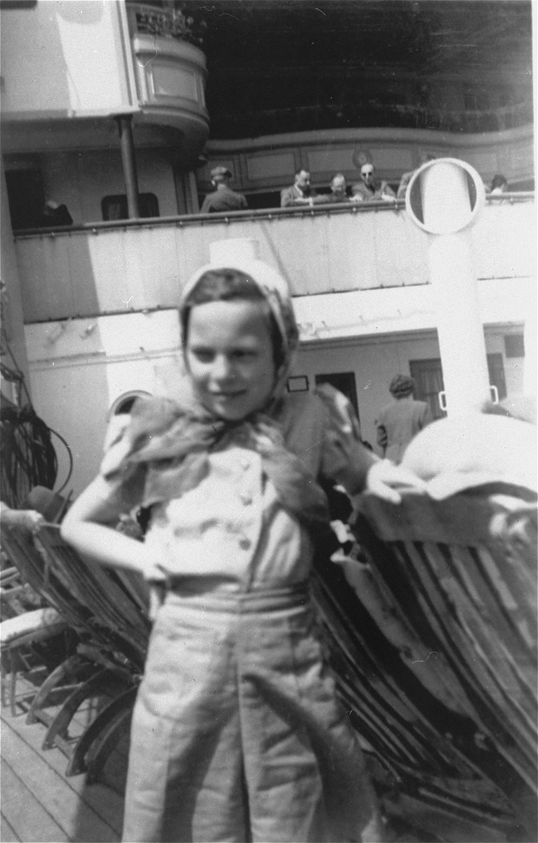 Ruth Karliner stands on the deck of the MS St. Louis.