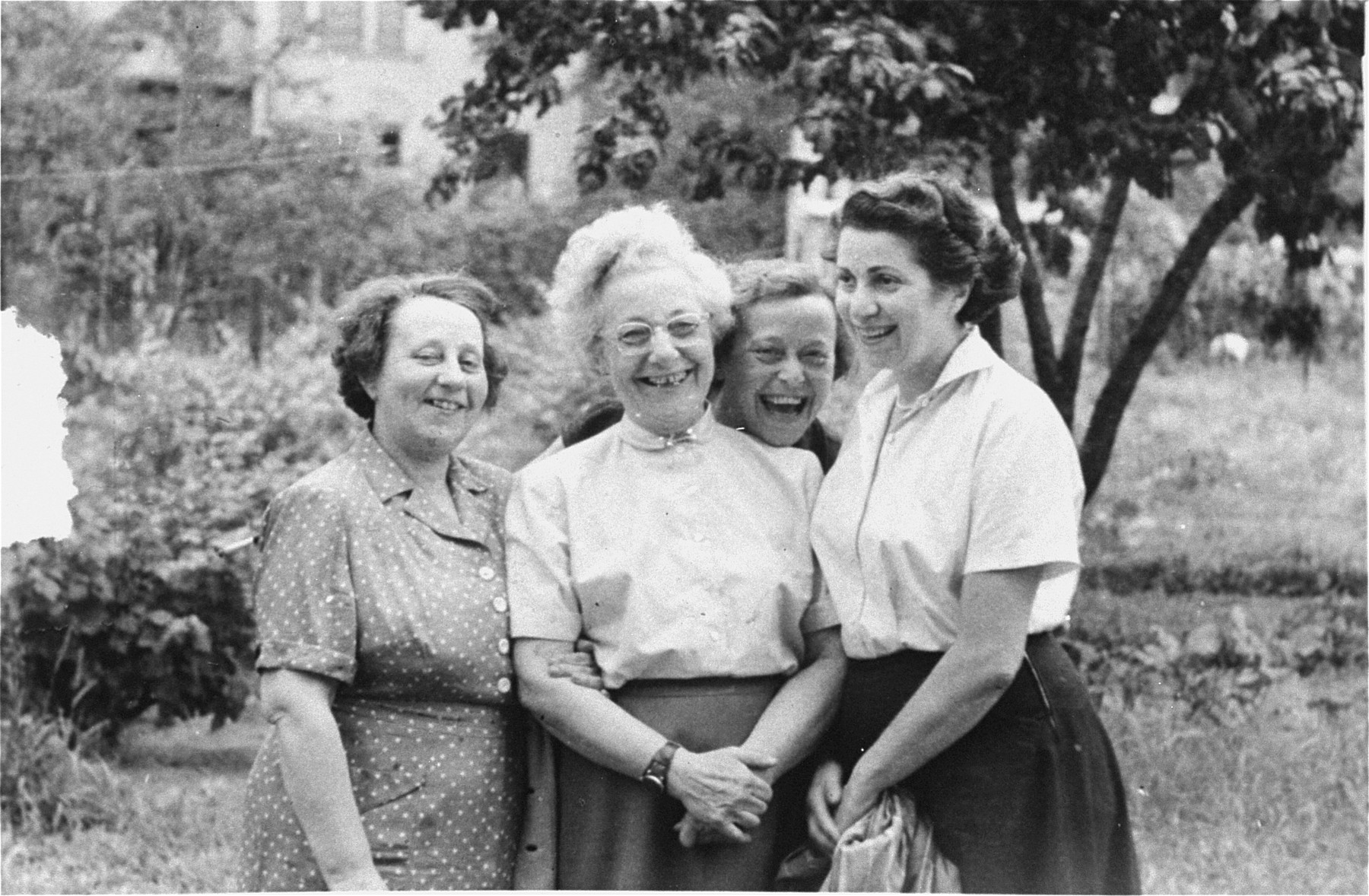 Margit Pick (right) poses with her aunt and two cousins outside the Pick home in Budapest.    The aunt (center) who fled from Slovakia in 1942, lived with the Pick family until the spring of 1944.