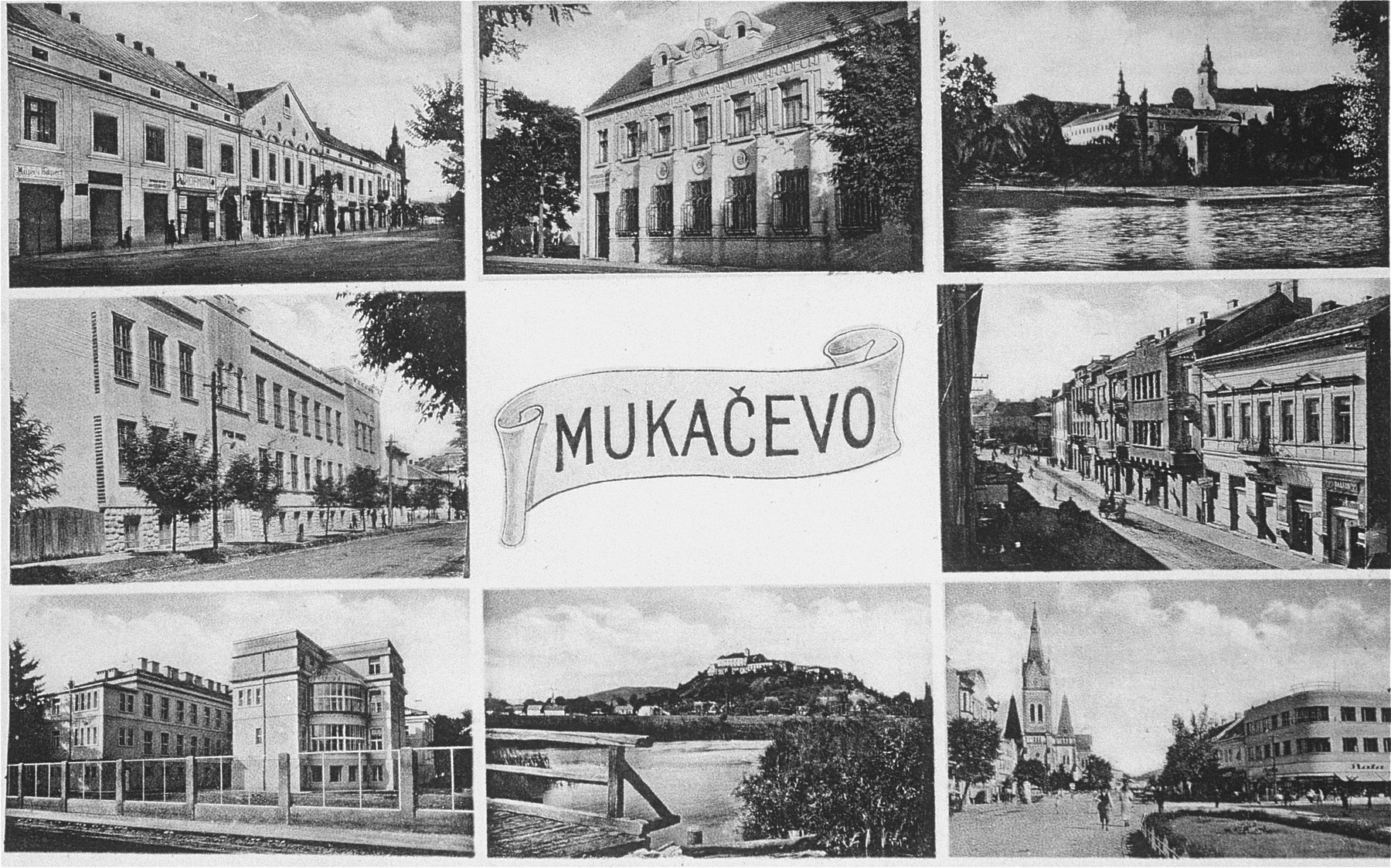 A collage of picture postcards depicting sights in Munkachevo.