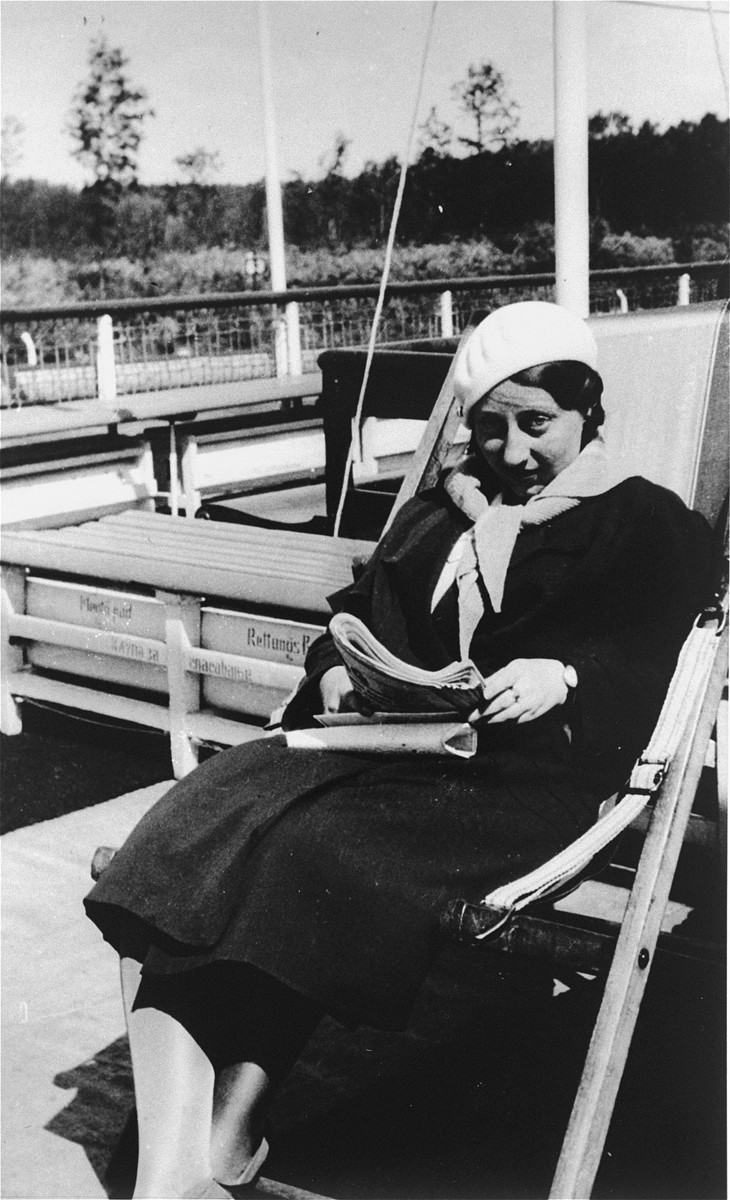 Margit Pick sits on a deck chair during her honeymoon cruise on the Danube River between Budapest and Linz.