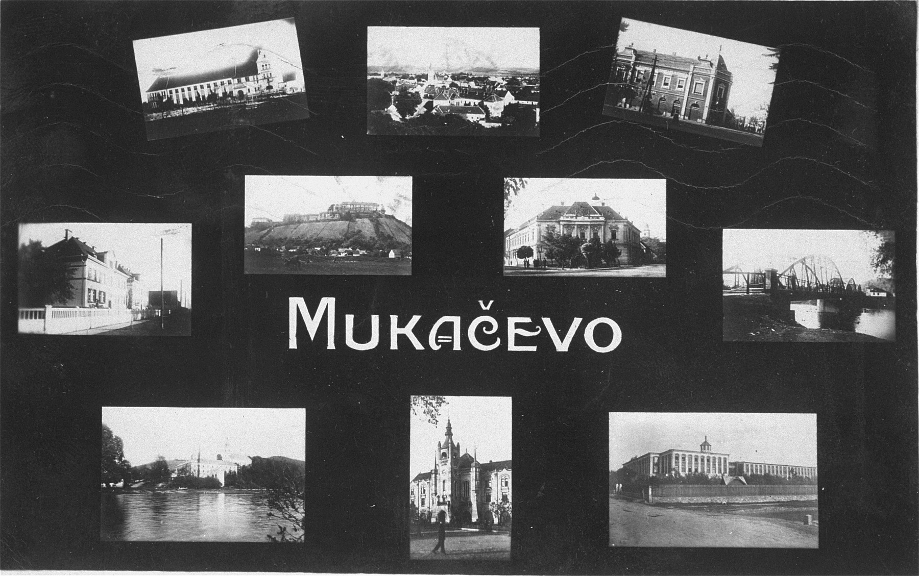 A collage of picture postcards depicting sights in Munkachevo.  A series of postcards designed and sold by Henryk Schonfeld.