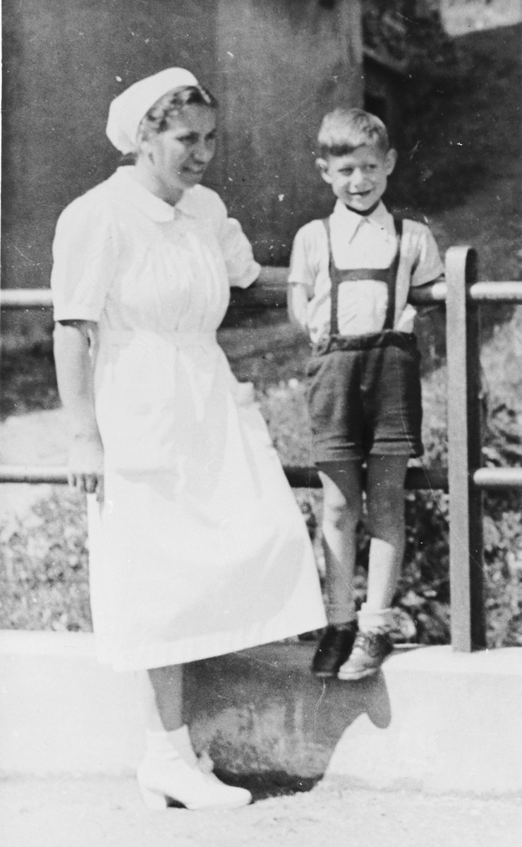 Joel Fabian poses with a nurse at a sanatorium in Davos, Switzerland, where he is recovering from the tuberculosis he contracted while imprisoned in Theresienstadt.