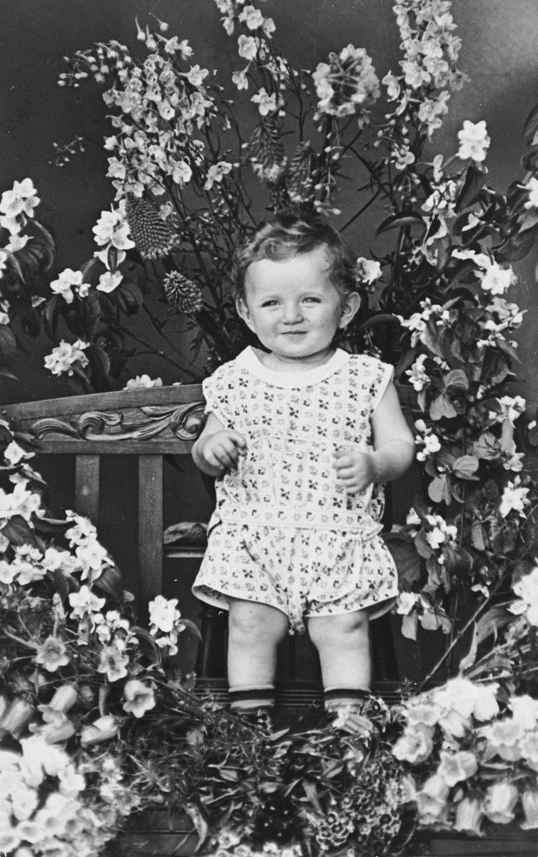 Portrait of a Jewish child standing among the flowers in his father's greenhouse on his first birthday.  Pictured is Alfred Ginsburg.