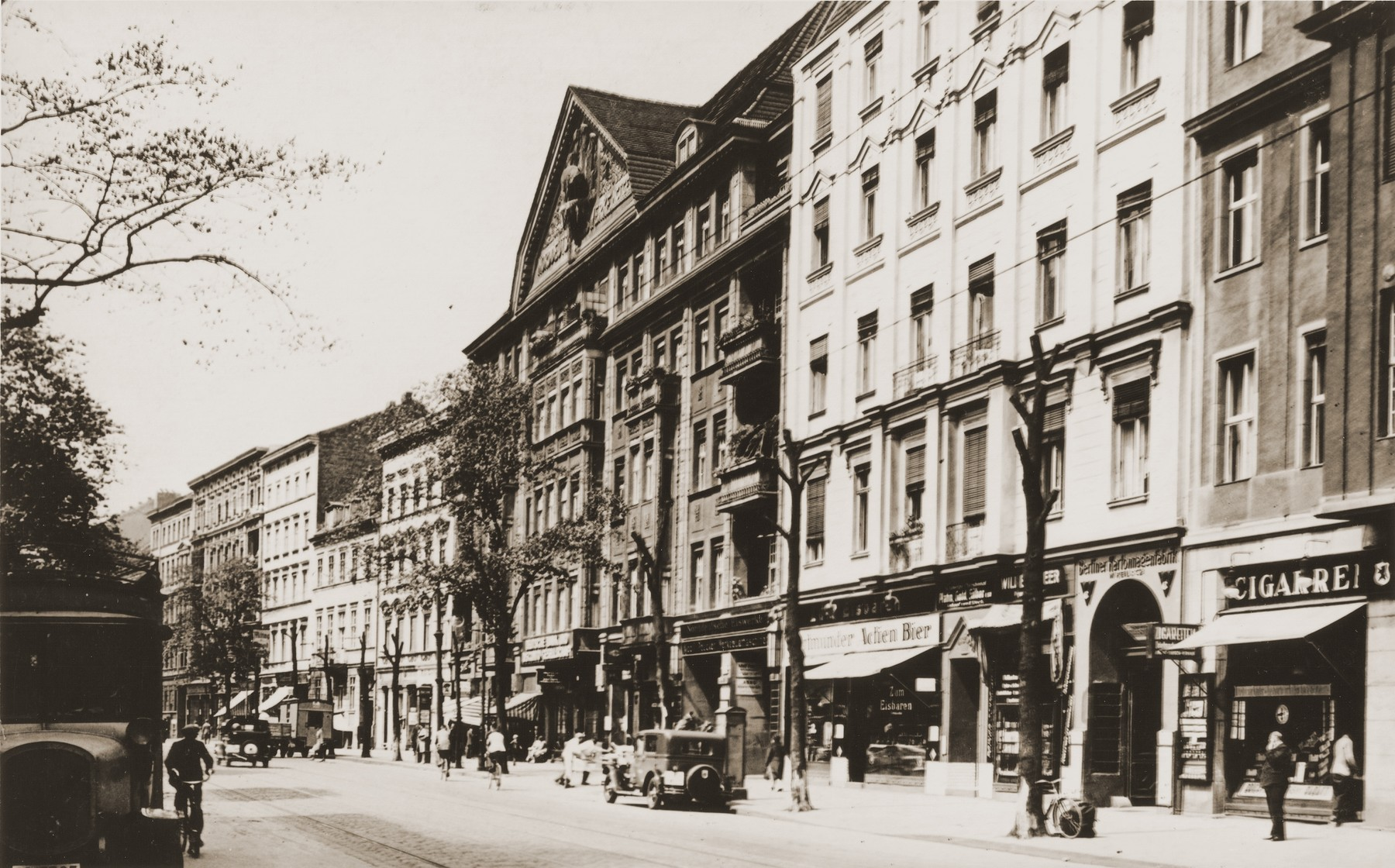 View of the commercial street in Berlin where Arthur Lewy's tobacco store was located.