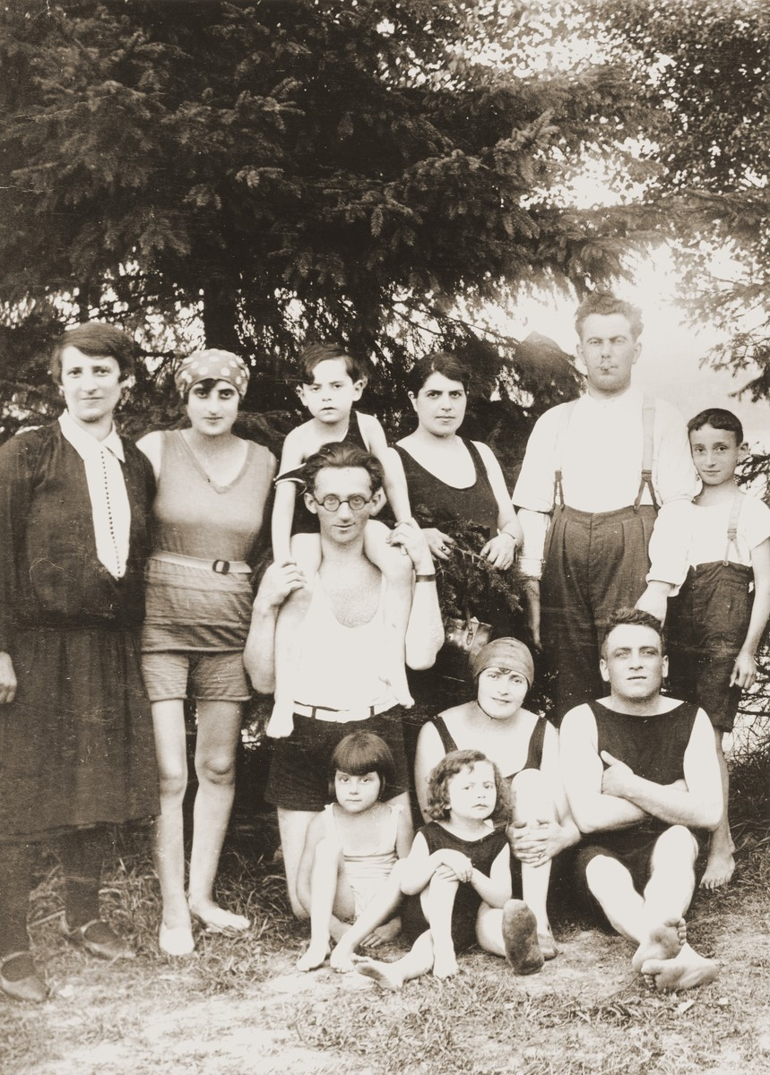 Members of the Levenheck family pose with friends at Bagasee Lake.    Among those pictured are Ephraim Levenheck (lower right) and Paul Levenheck (upper right).