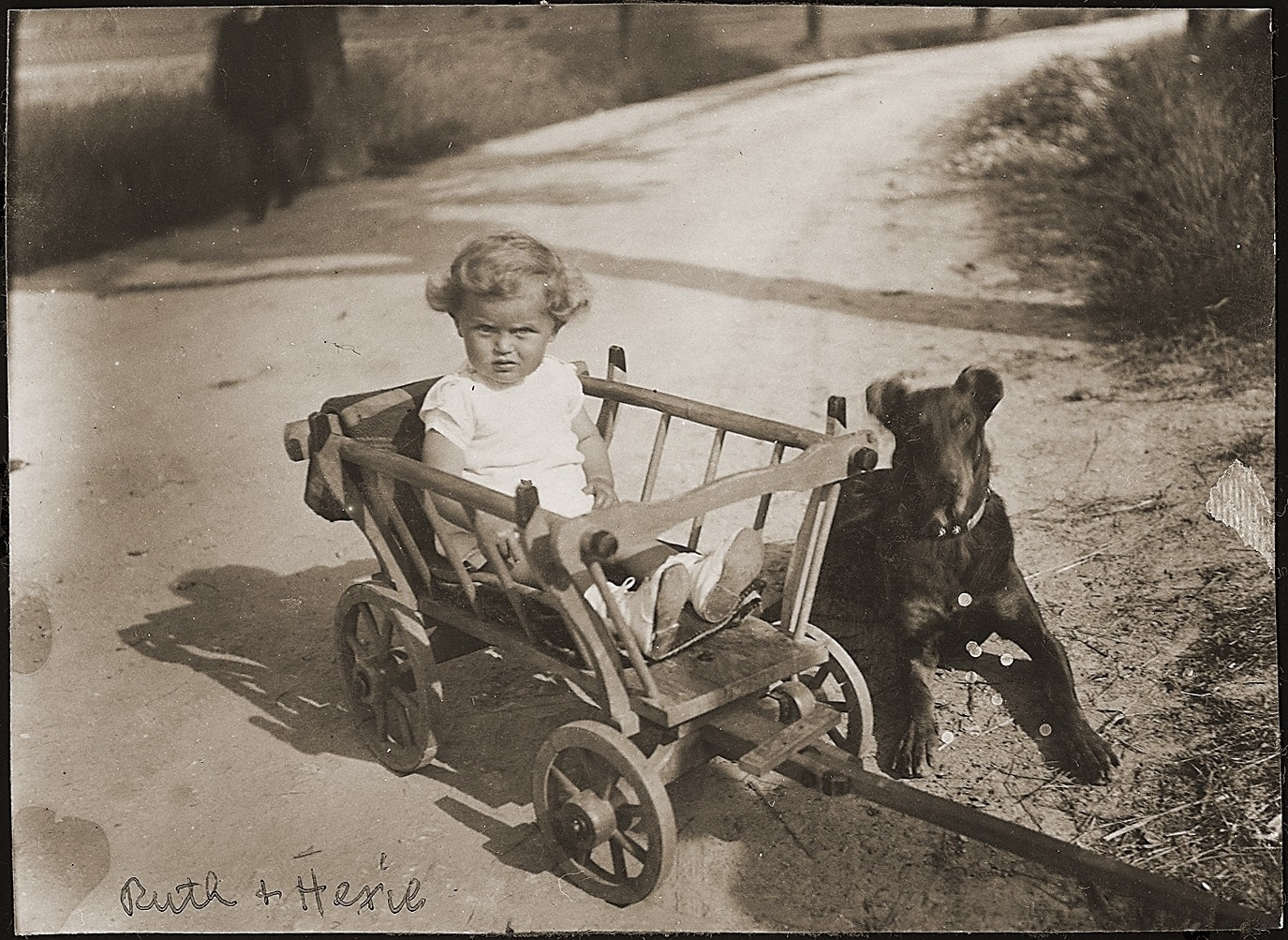 Ruth Wottitzky sits outside in a wagon next to her dog.