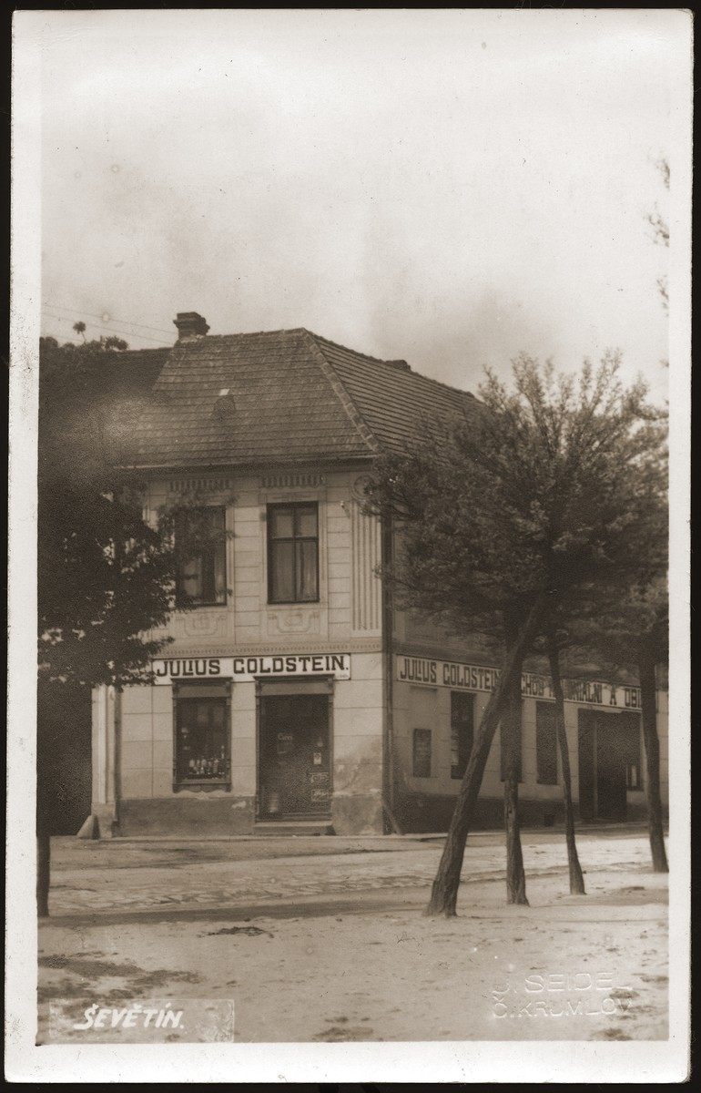 View of the general store in Sevetin owned by Julius Goldstein.