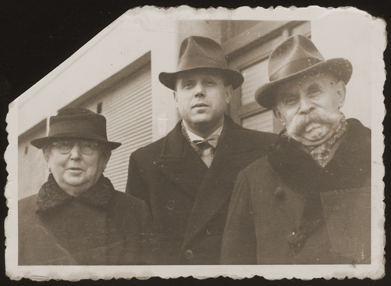 Julius and Fanny Goldstein pose outside with their son, Bohus.    Bohus and Wilma (Redlich) Goldstein had two children, Eva and Michael.  The family lived in Olomouc, where Bohus worked for the Prague autoworks.  All perished during the war.