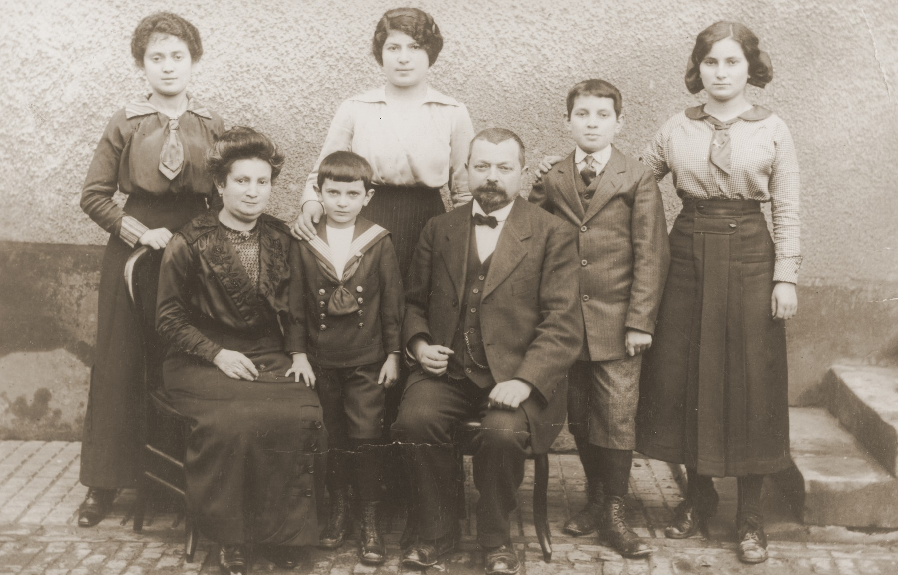 Portrait of Marx and Mathilde Schwab (the donor's maternal grandparents) with five of their eight children.  Jeanne Schwab is pictured at the upper left.