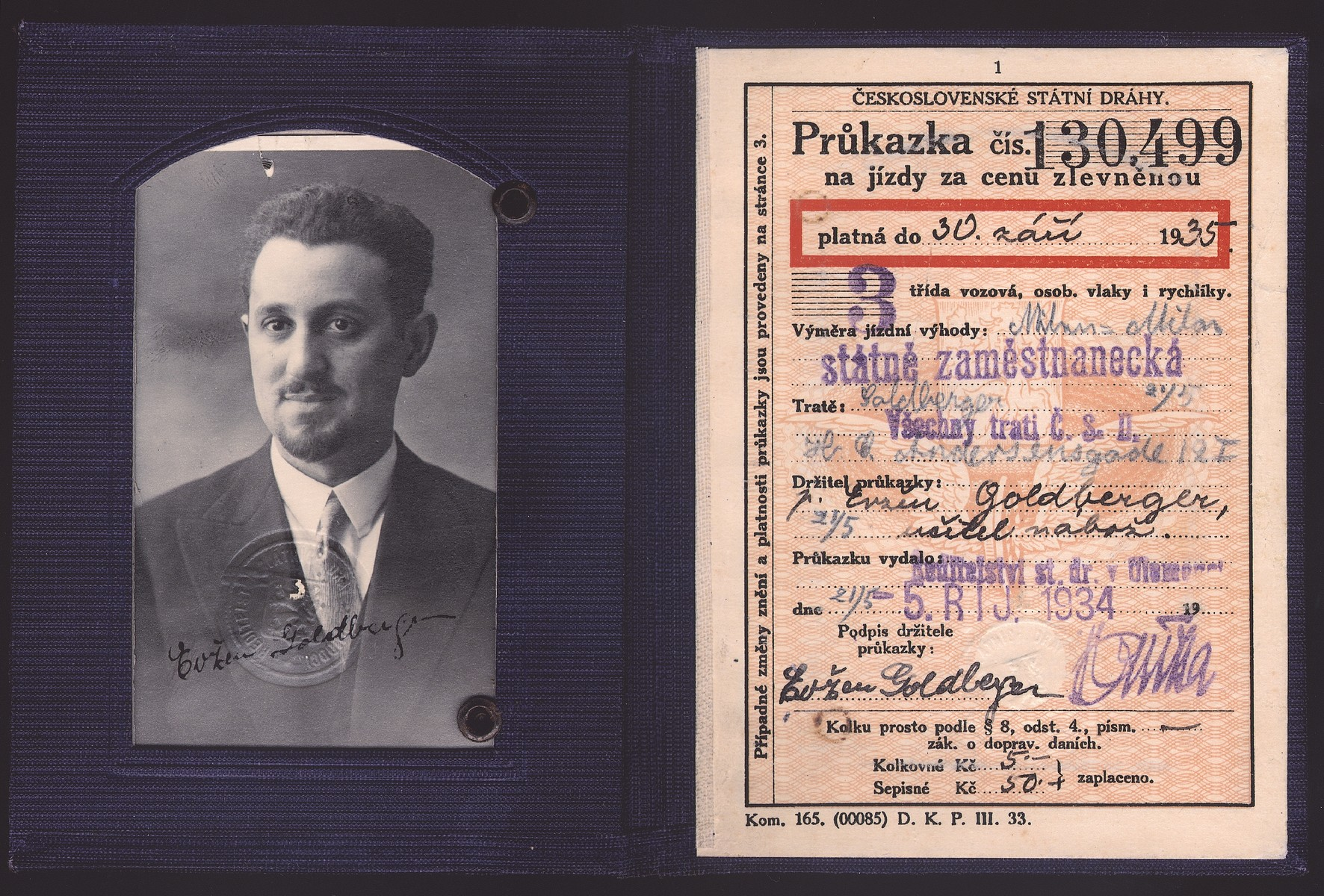 Czech passport issued to Eugene (Jeno) Goldberger.