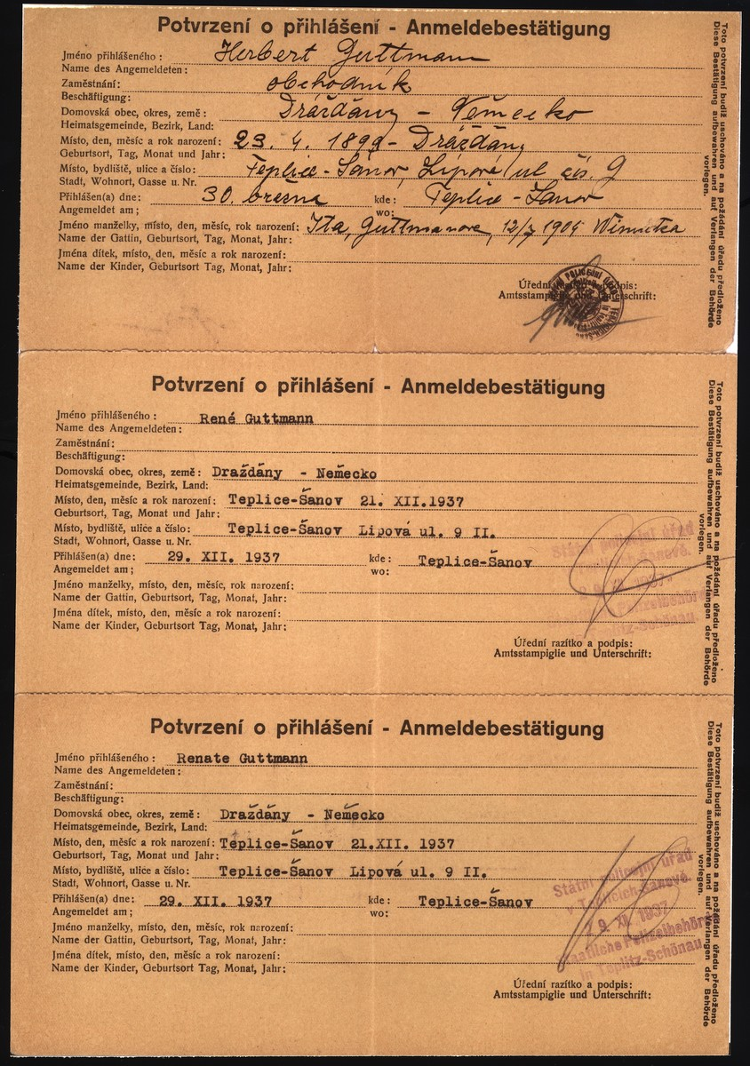 A registration form that documents the residence of the Guttmann family in Teplice-Sanov.