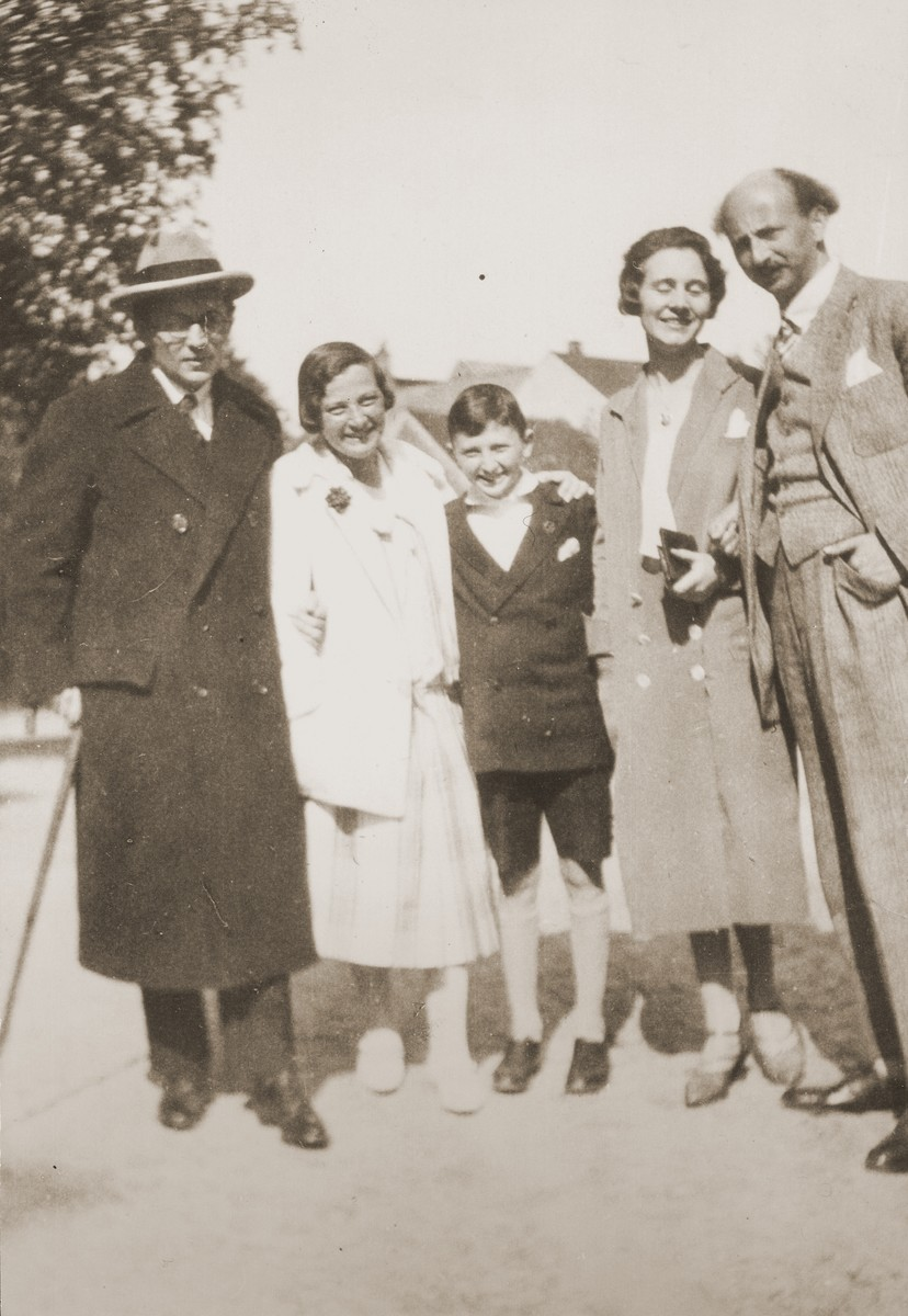 Members of the Marum family with friends in Badenweiler.    Pictured from left to right are: Willy F. Storck, Johanna Marum, Hans Marum, Maria Theresia Storck and Ludwig Marum.