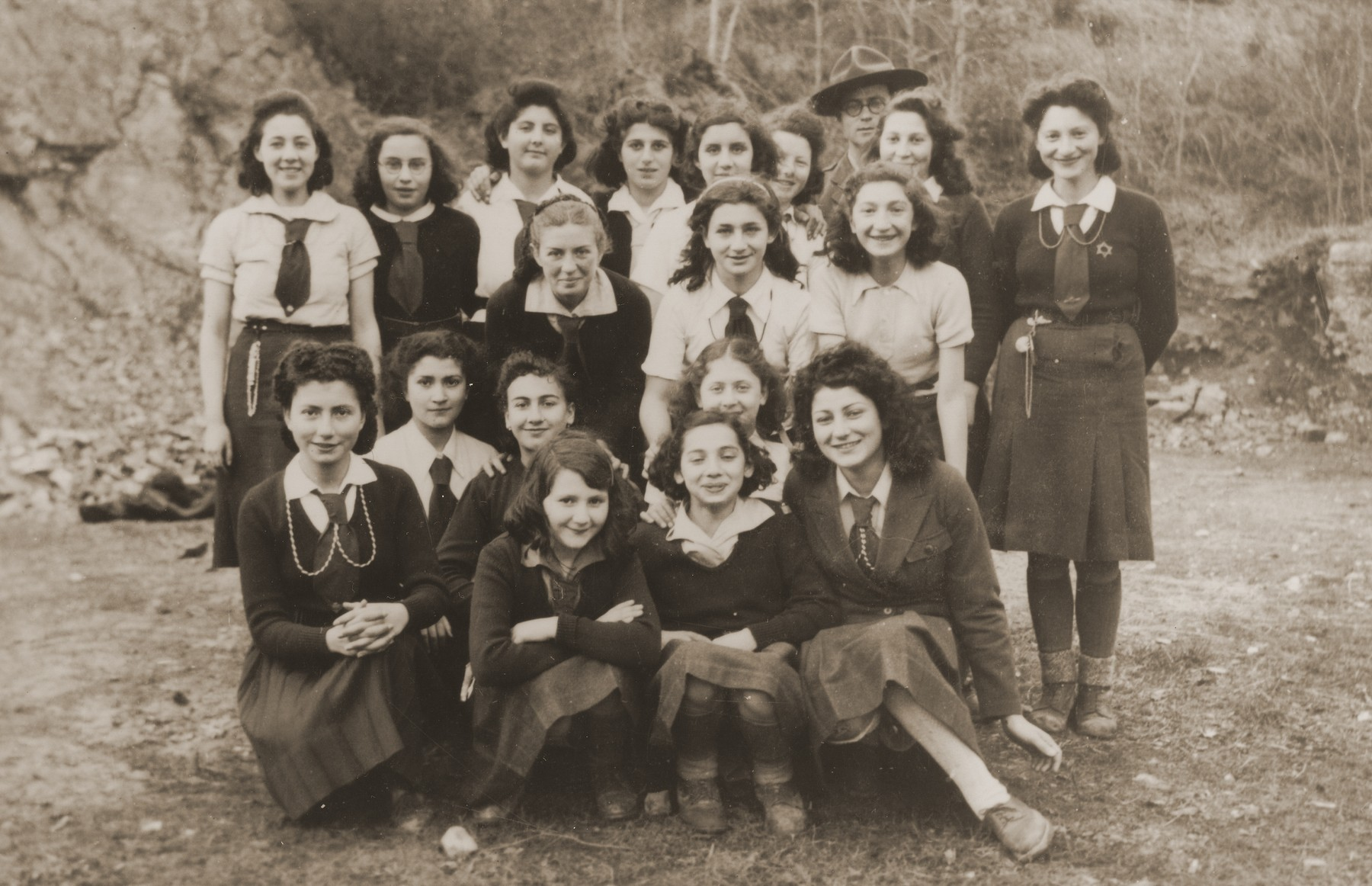 Group portrait of the members of Simone Weil's troop of the Eclaireurs Israelites de France (Jewish Scouts of France).  The name of her section was Eretz Yisrael (The Land of Israel).