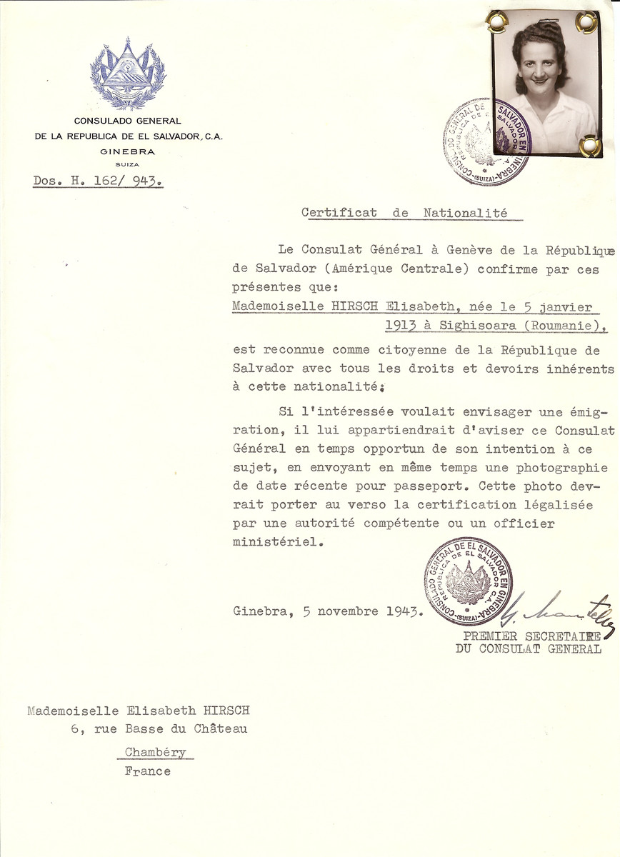Unauthorized Salvadoran citizenship certificate issued to Elisabeth Hirsch (b. January 5, 1913 in Sighisoara, Romania), by George Mandel-Mantello, First Secretary of the Salvadoran Consulate in Switzerland and sent to her residence at Chambery.