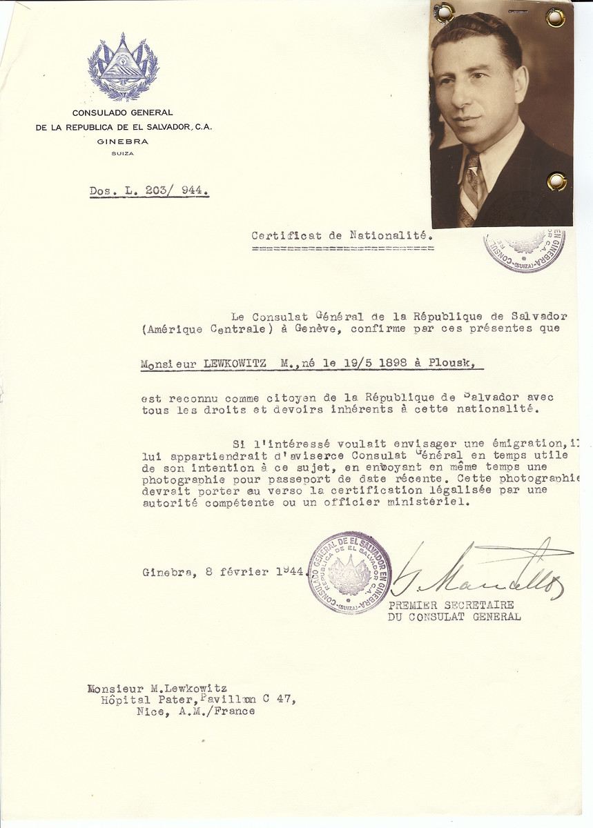 Unauthorized Salvadoran citizenship certificate issued to M. Lewkowitz (b. May 19, 1898 in Plousk) by George Mandel-Mantello, First Secretary of the Salvadoran Consulate in Switzerland and sent to him in Nice.