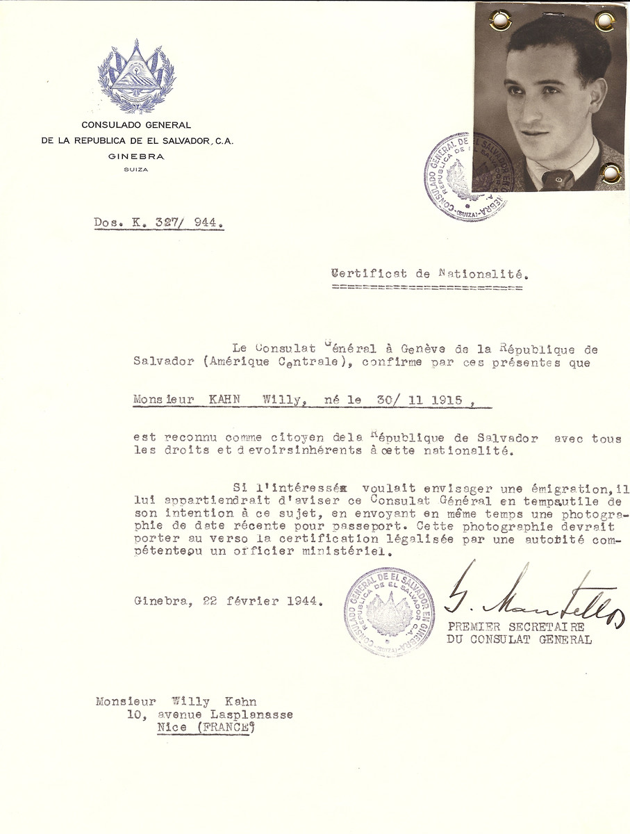 Unauthorized Salvadoran citizenship certificate issued to Willy Kahn (b. November 30, 1915), by George Mandel-Mantello, First Secretary of the Salvadoran Consulate in Switzerland and sent to his residence in Nice.