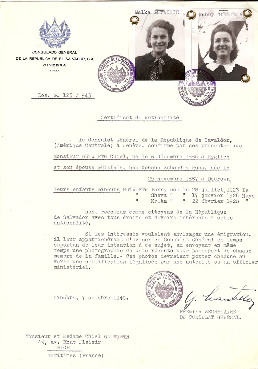 Unauthorized Salvadoran citizenship certificate issued to Chiel Gutwirth (b. December 3, 1886 in Ryglice), his wife Schandla Rosa (Kohane) Gutwirth (b. November 29, 1887 in Debrowa), and their children Fanny (b. July 28 1923 in La Haye), Sheva (b. January 17, 1926 in La Haye), and Malka (b. February 22, 1928 in La Haye), by George Mandel-Mantello, First Secretary of the Salvadoran Consulate in Switzerland amd sent to their residence in Nice.  Chiel Gutwirth survived the Holocaust but his wife and some of the children perished.